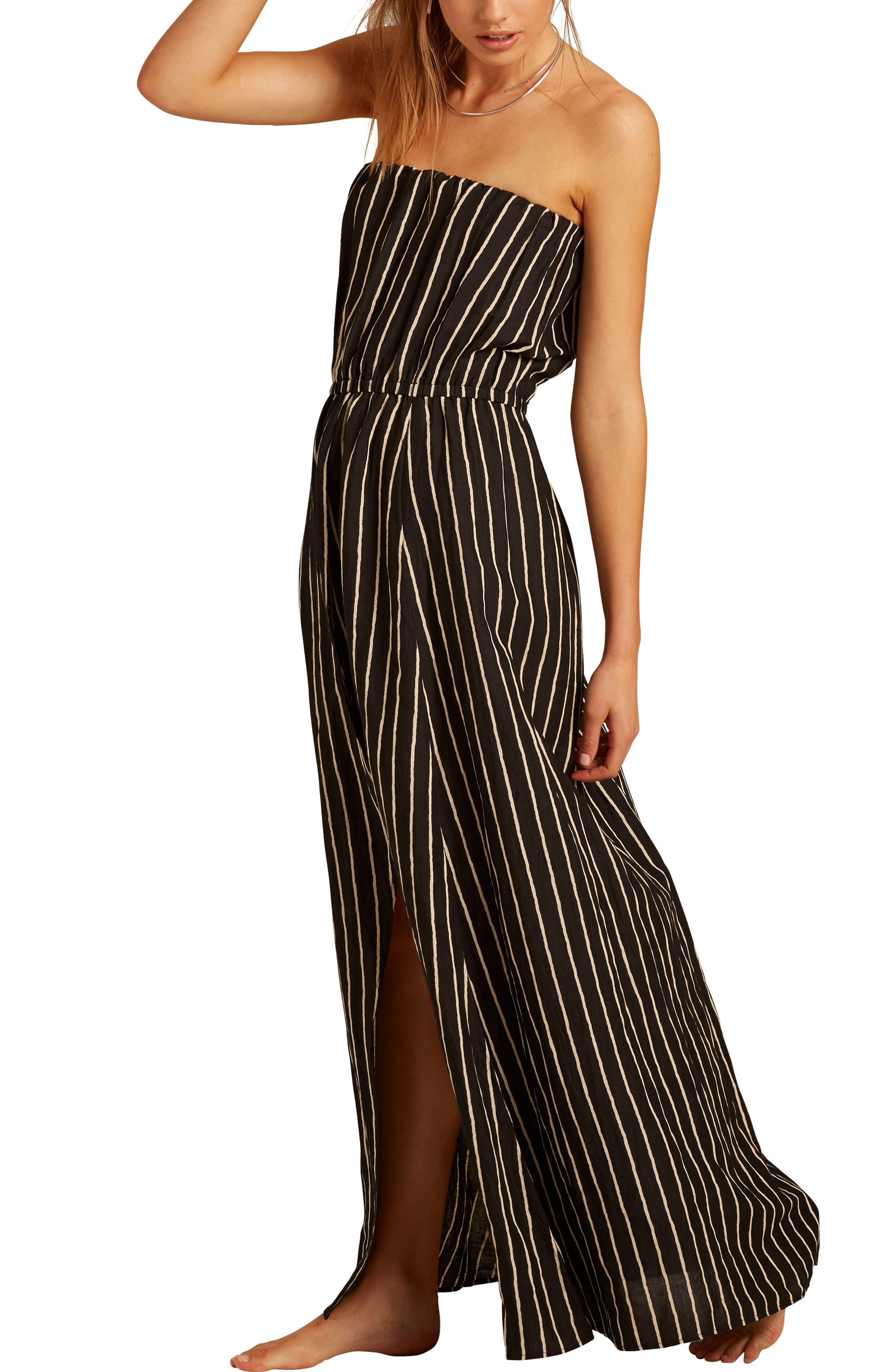 Strapless Faux Wrap Maxi Dress,                             Alternate thumbnail 3, color,                             Black