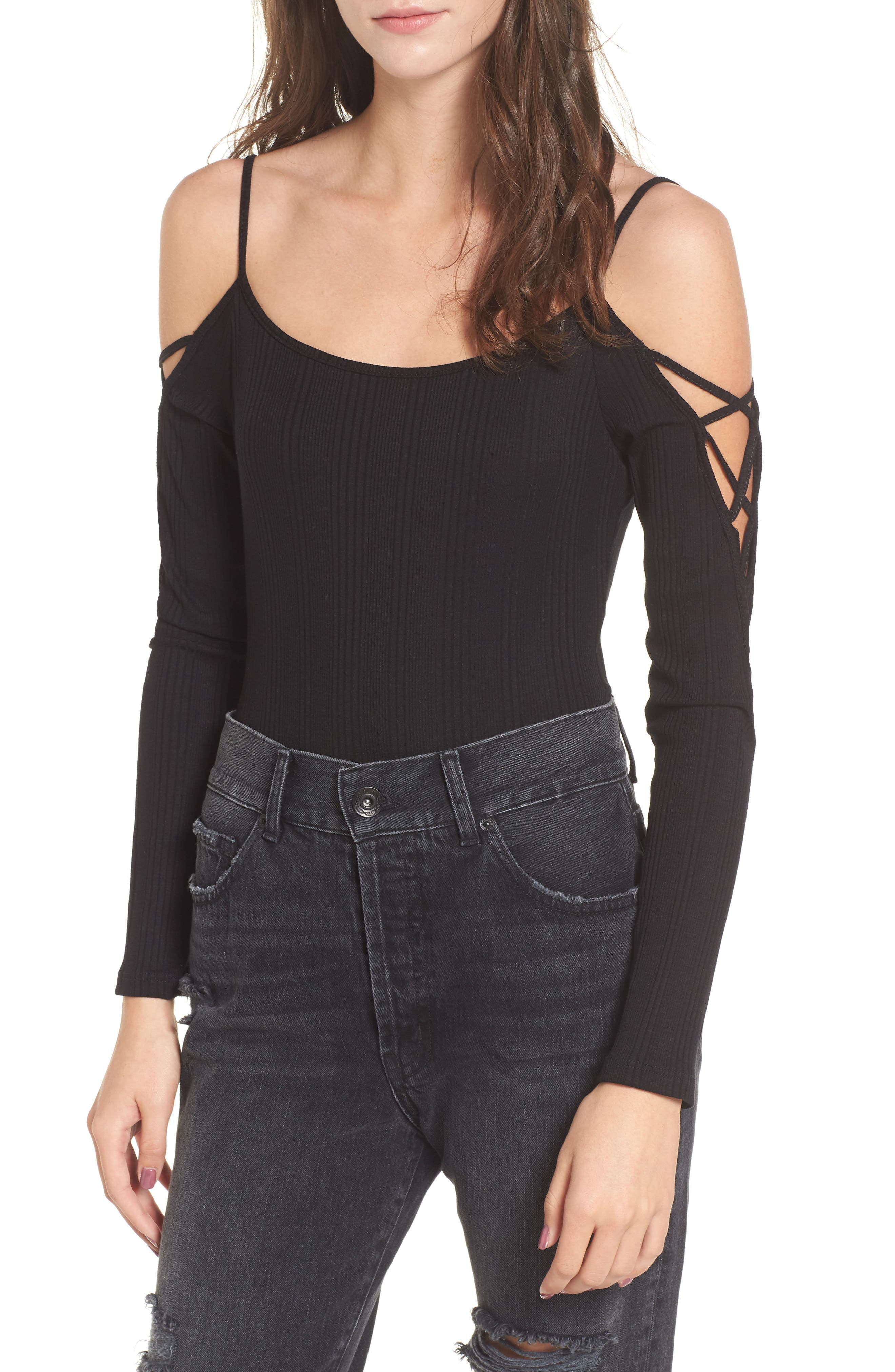 Lace Sleeve Cold Shoulder Bodysuit,                         Main,                         color, Black