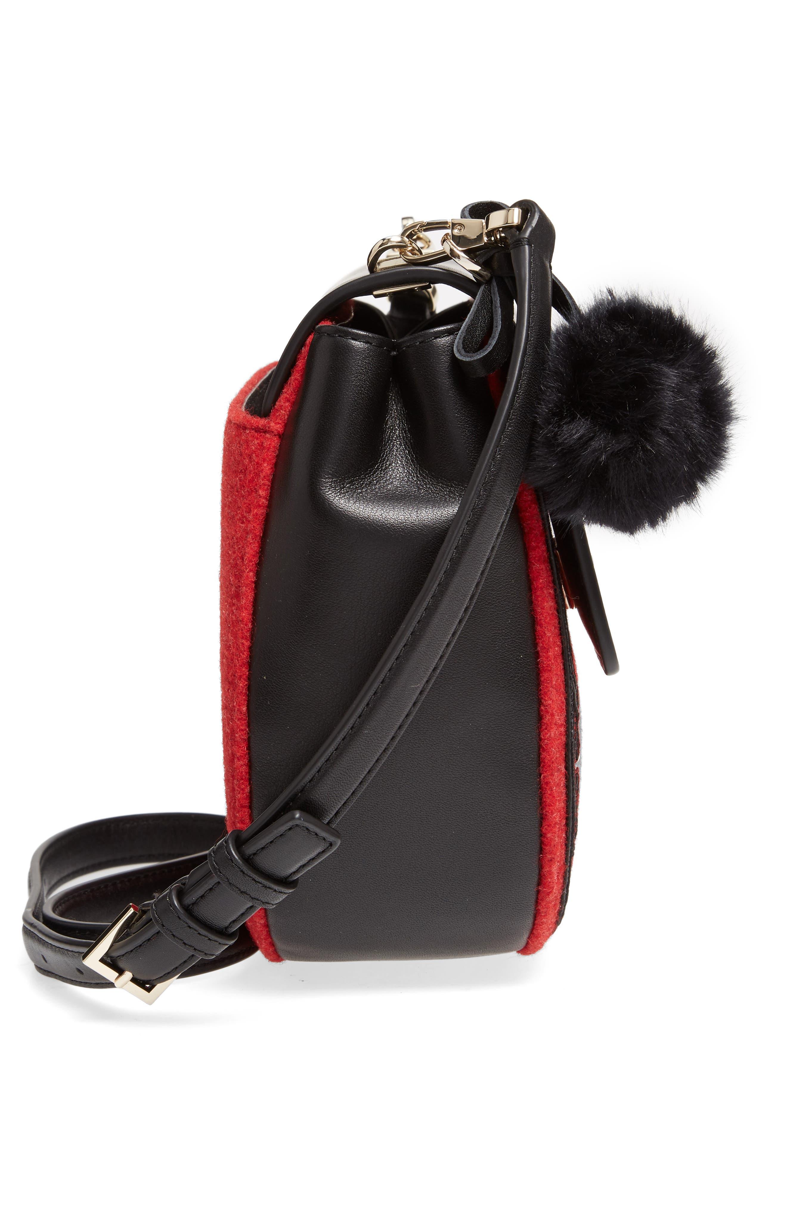 byrne street - byrdie embellished leather & wool saddle bag,                             Alternate thumbnail 4, color,                             Red Carpet