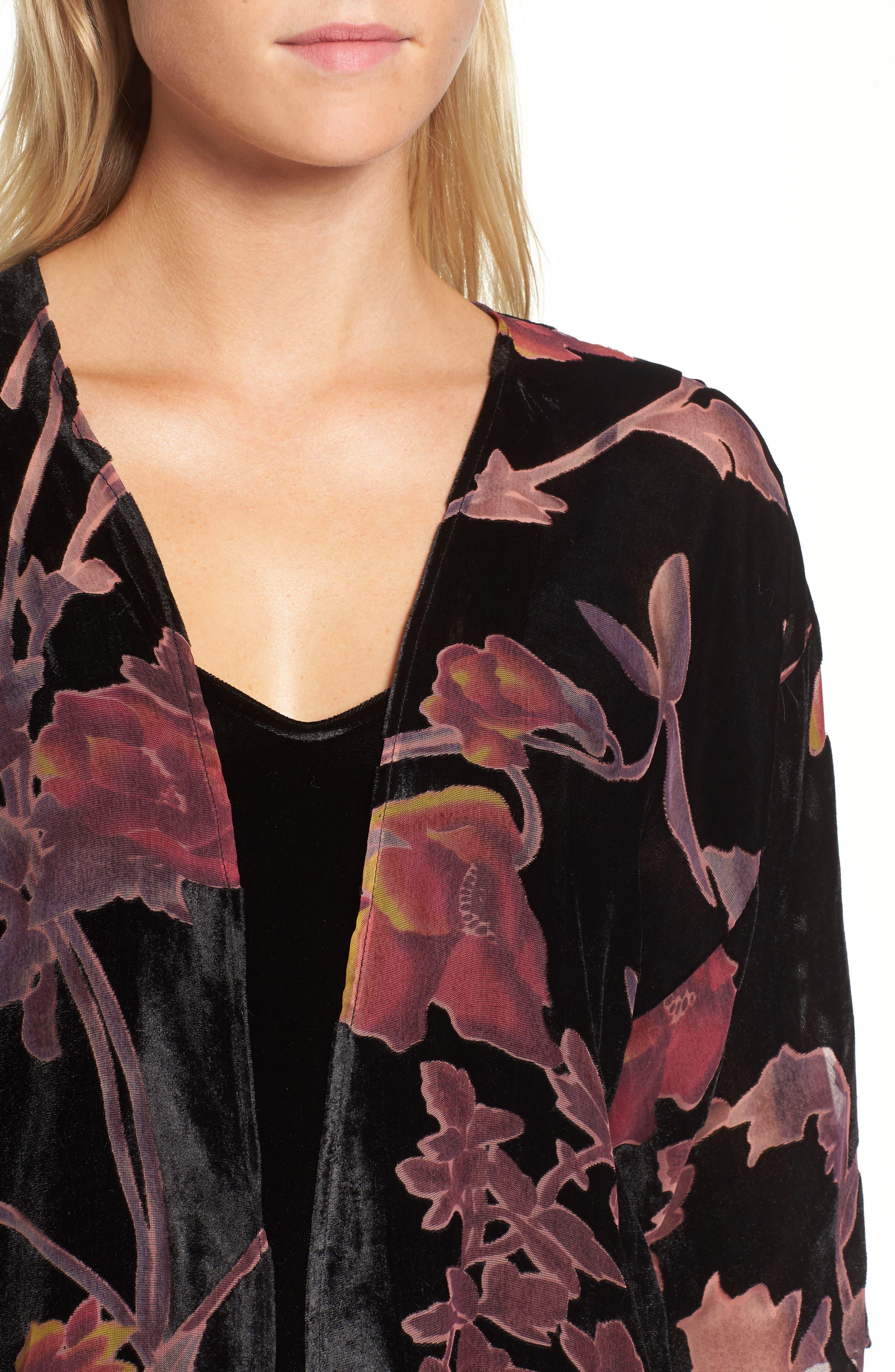 Alternate Image 4  - Hinge Burnout Floral Velvet Kimono