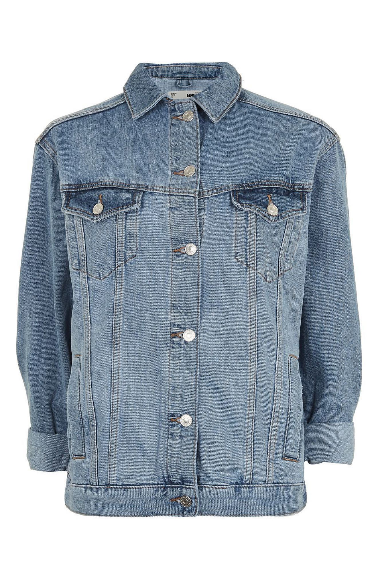 Oversize Denim Jacket,                             Alternate thumbnail 3, color,                             Mid Denim