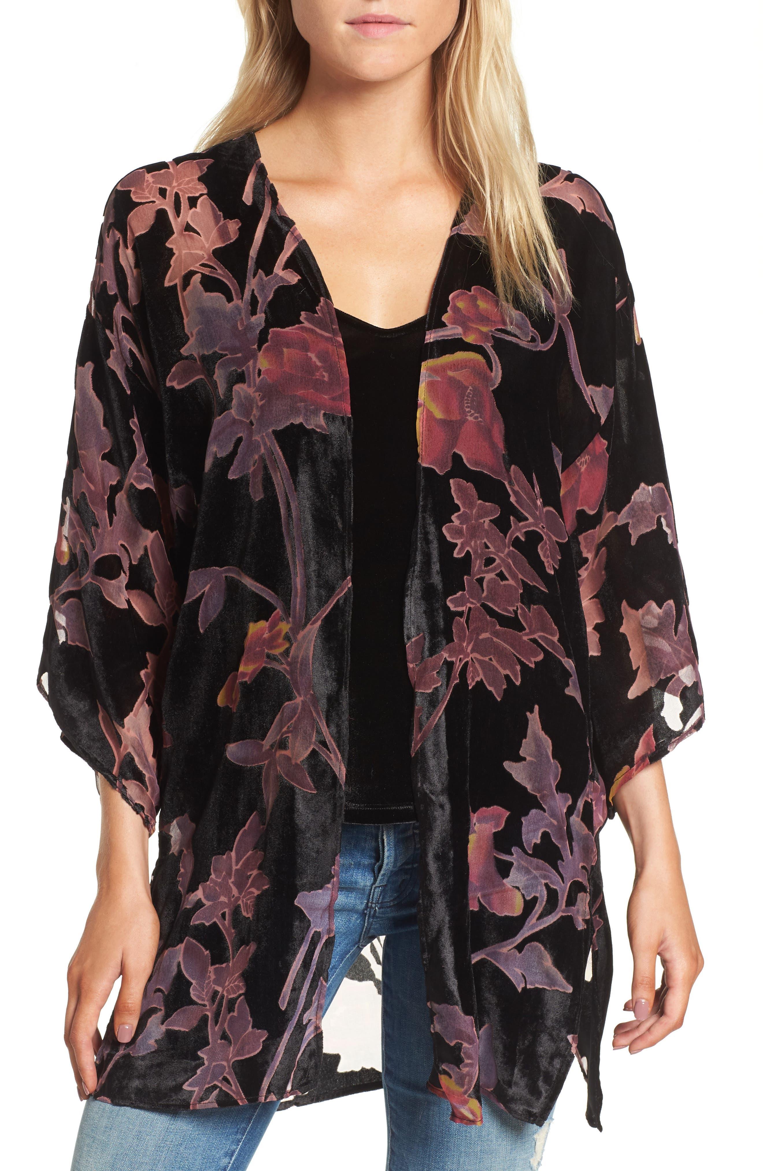 Burnout Floral Velvet Kimono,                         Main,                         color, Black Combo