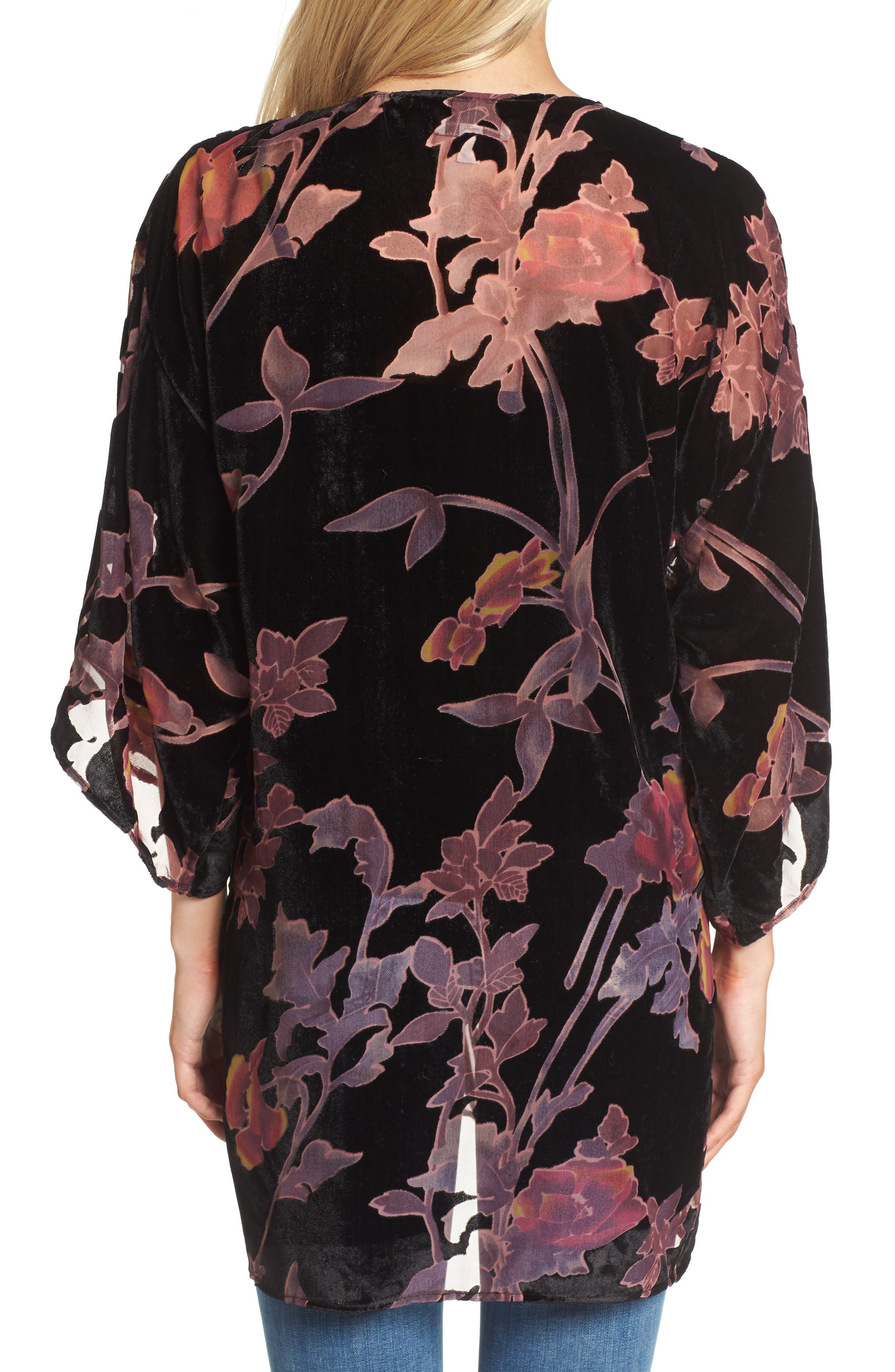 Alternate Image 2  - Hinge Burnout Floral Velvet Kimono