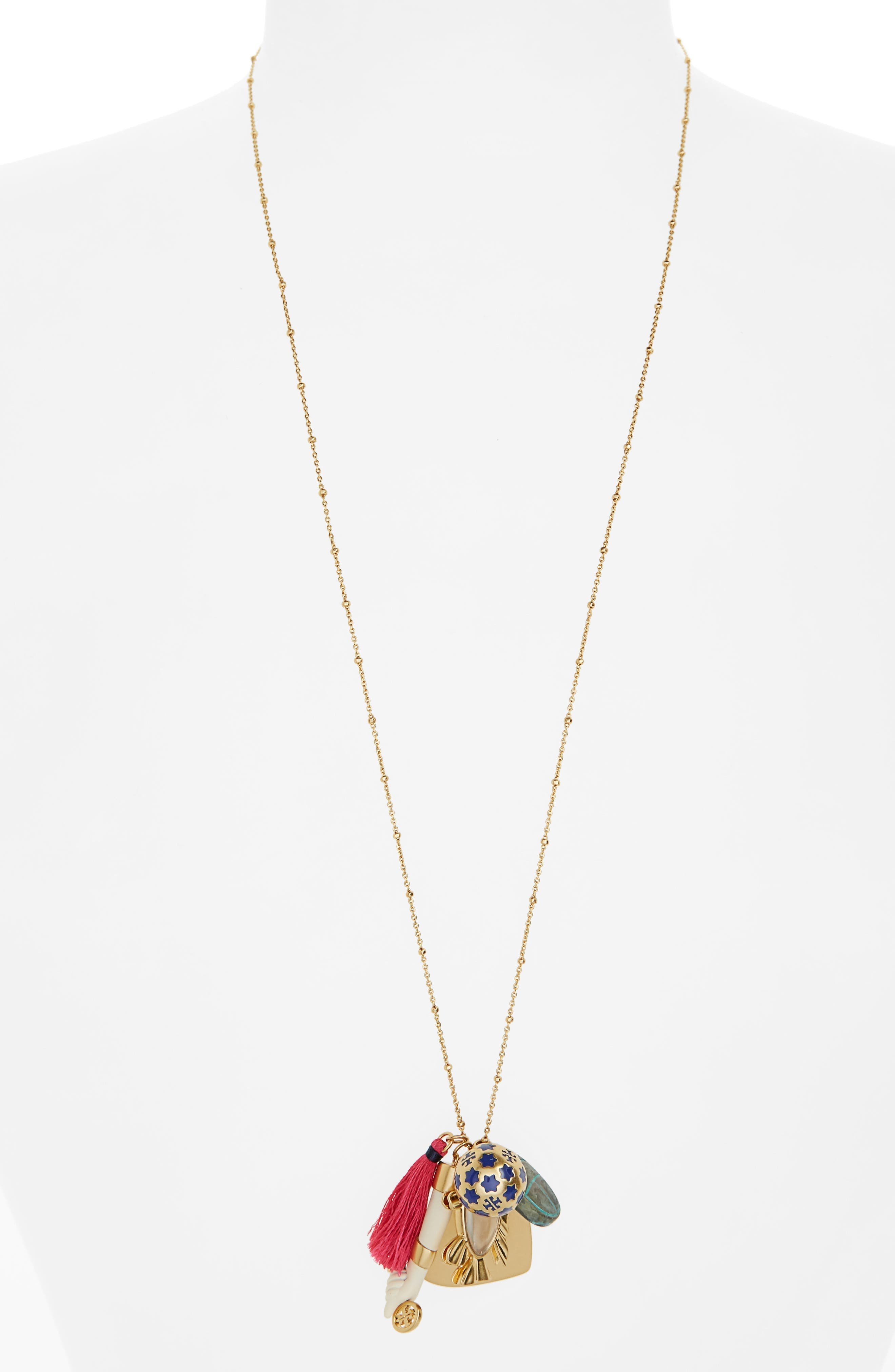 Cluster Pendant Necklace,                             Main thumbnail 1, color,                             Vintage Gold
