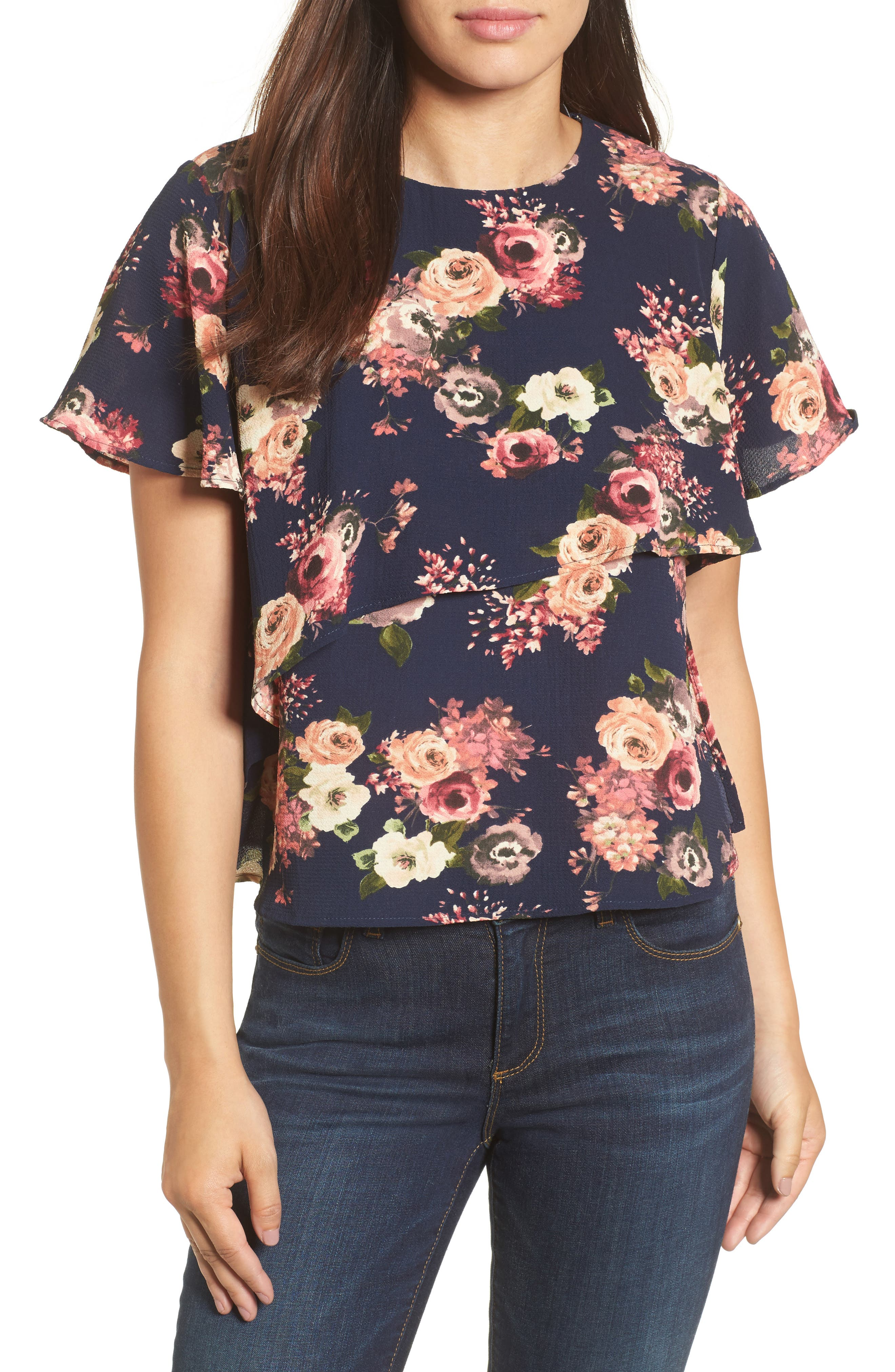 Layered Floral Top,                             Main thumbnail 1, color,                             Navy Floral
