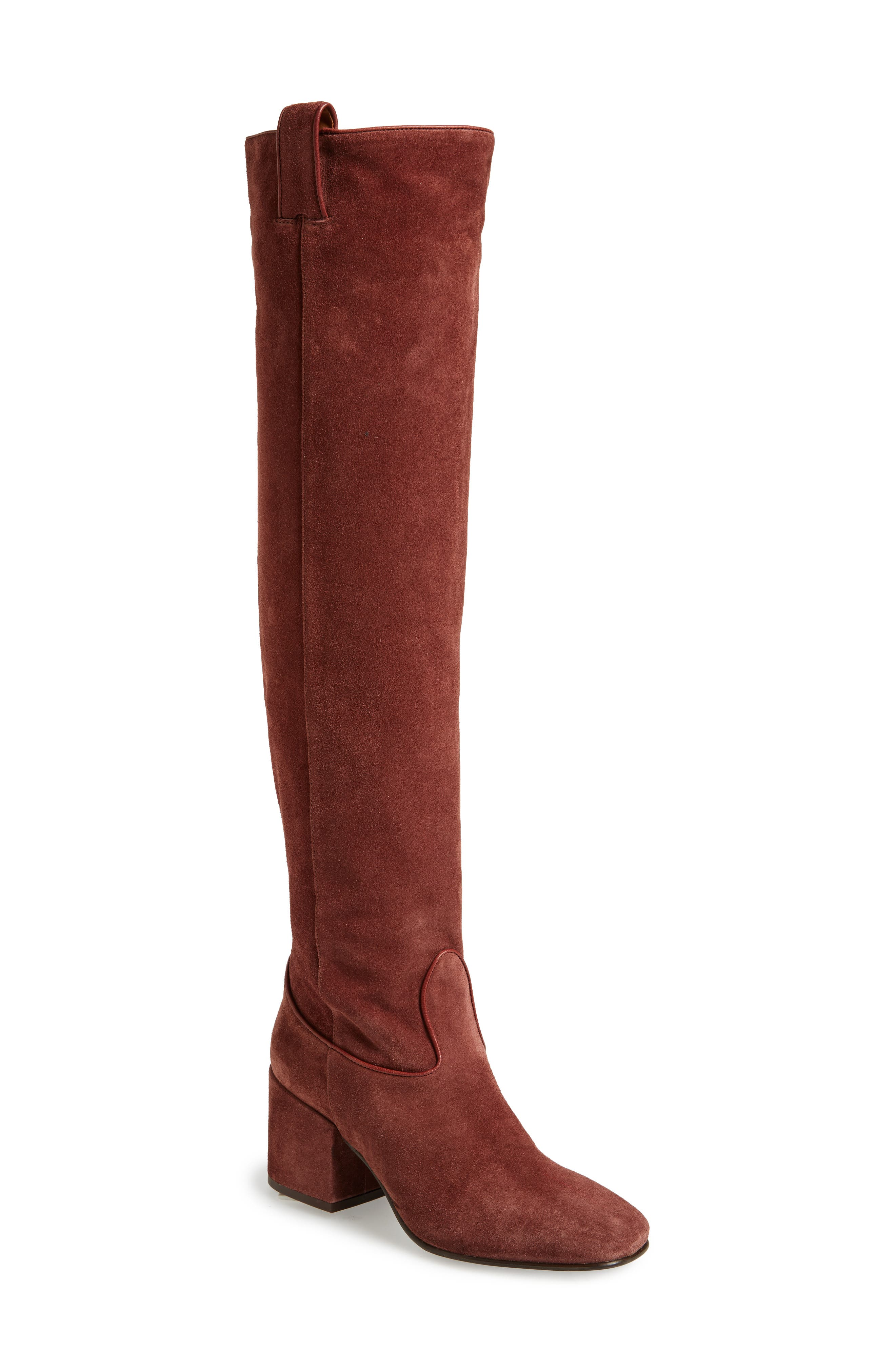 Delia Over the Knee Boot,                             Main thumbnail 1, color,                             Mogano