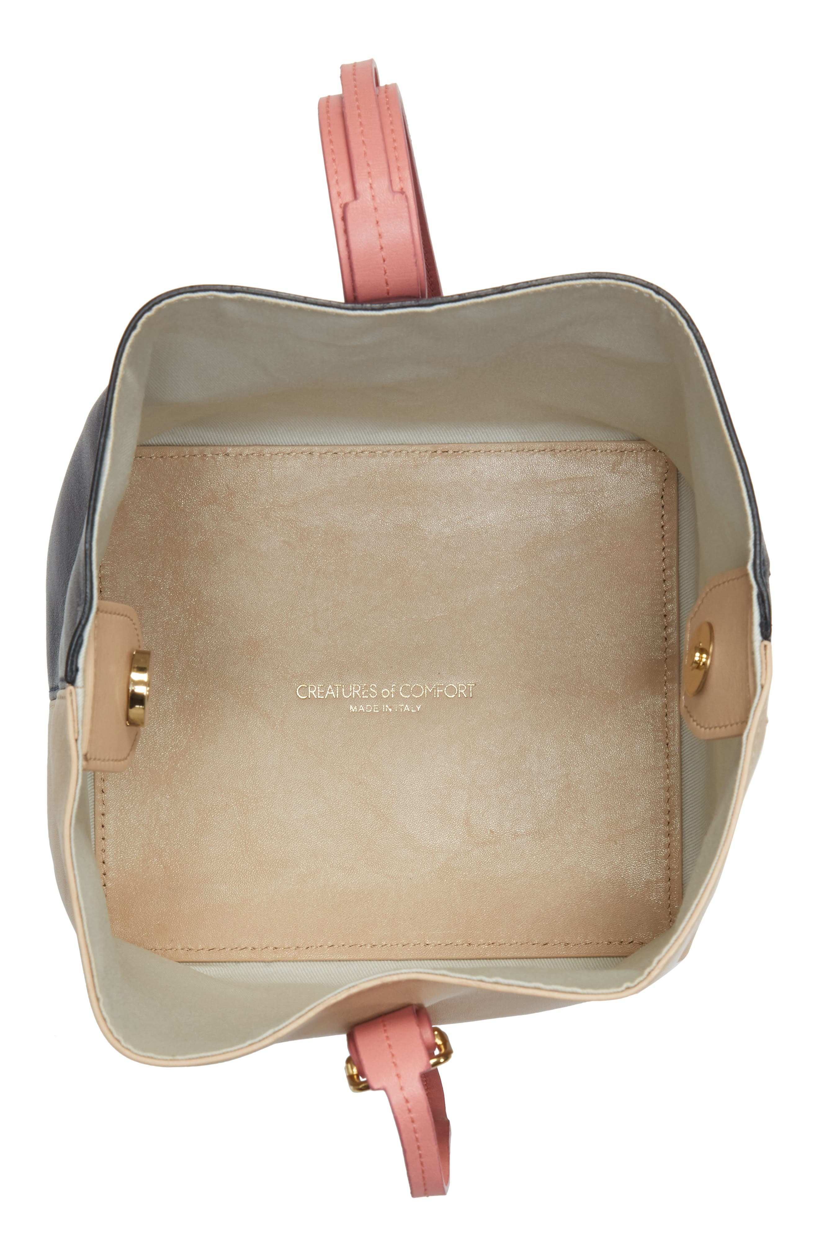 Small Apple Tricolor Leather Bag,                             Alternate thumbnail 4, color,                             Slate/ Amaryllis/ Cappuccino