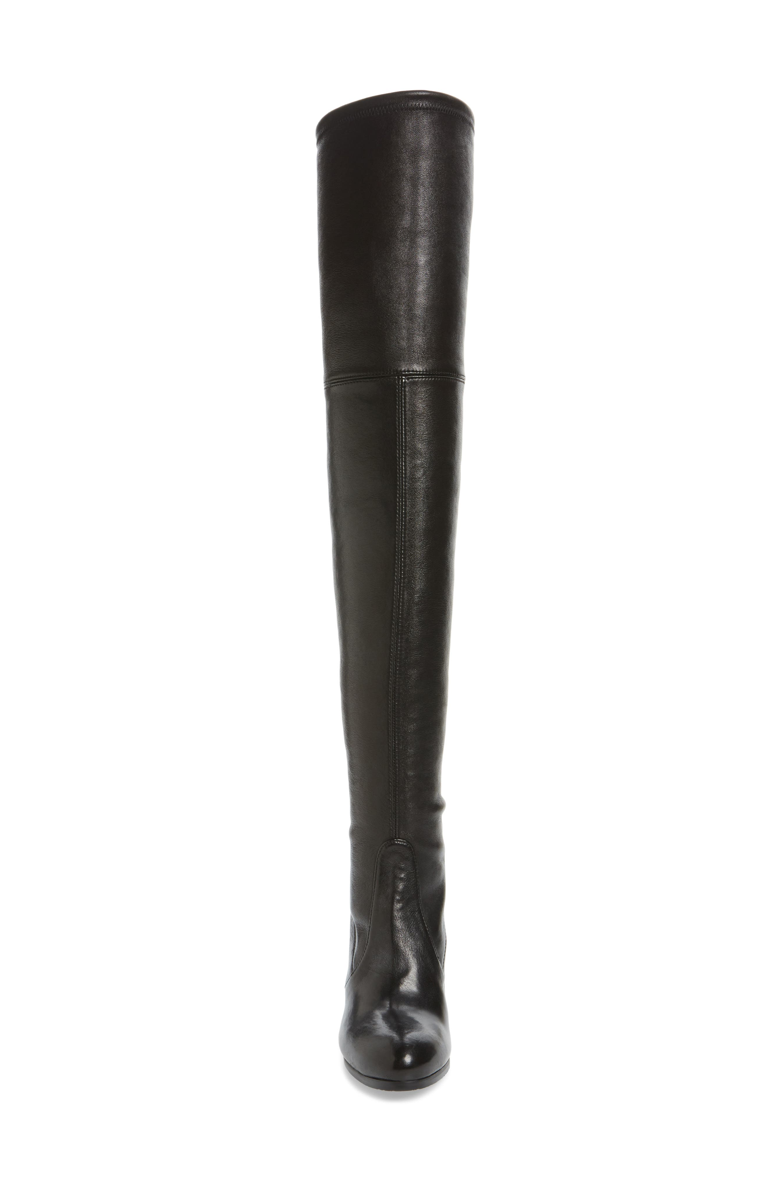 Hiline Over the Knee Boot,                             Alternate thumbnail 4, color,                             Black Nappa