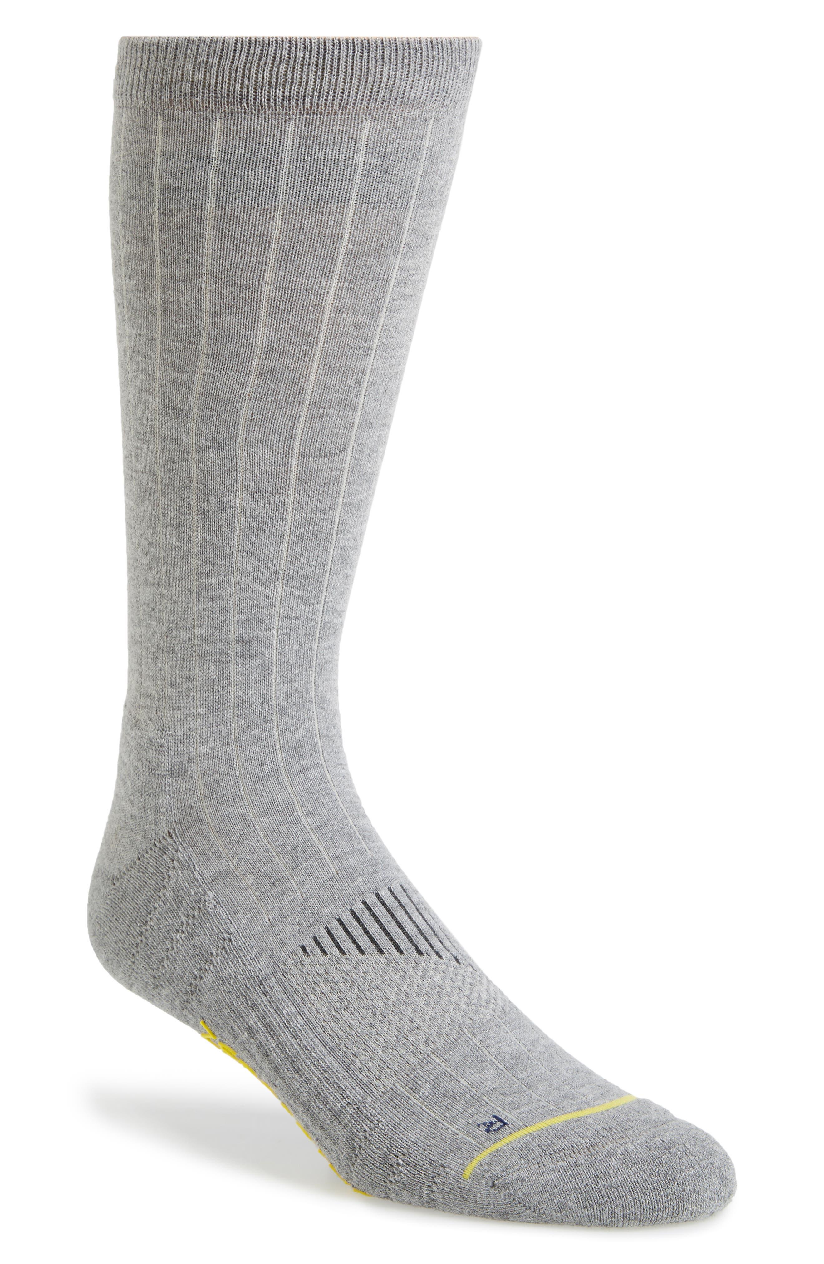 ZeroGrand Ribbed Crew Socks,                             Main thumbnail 1, color,                             Grey Heather