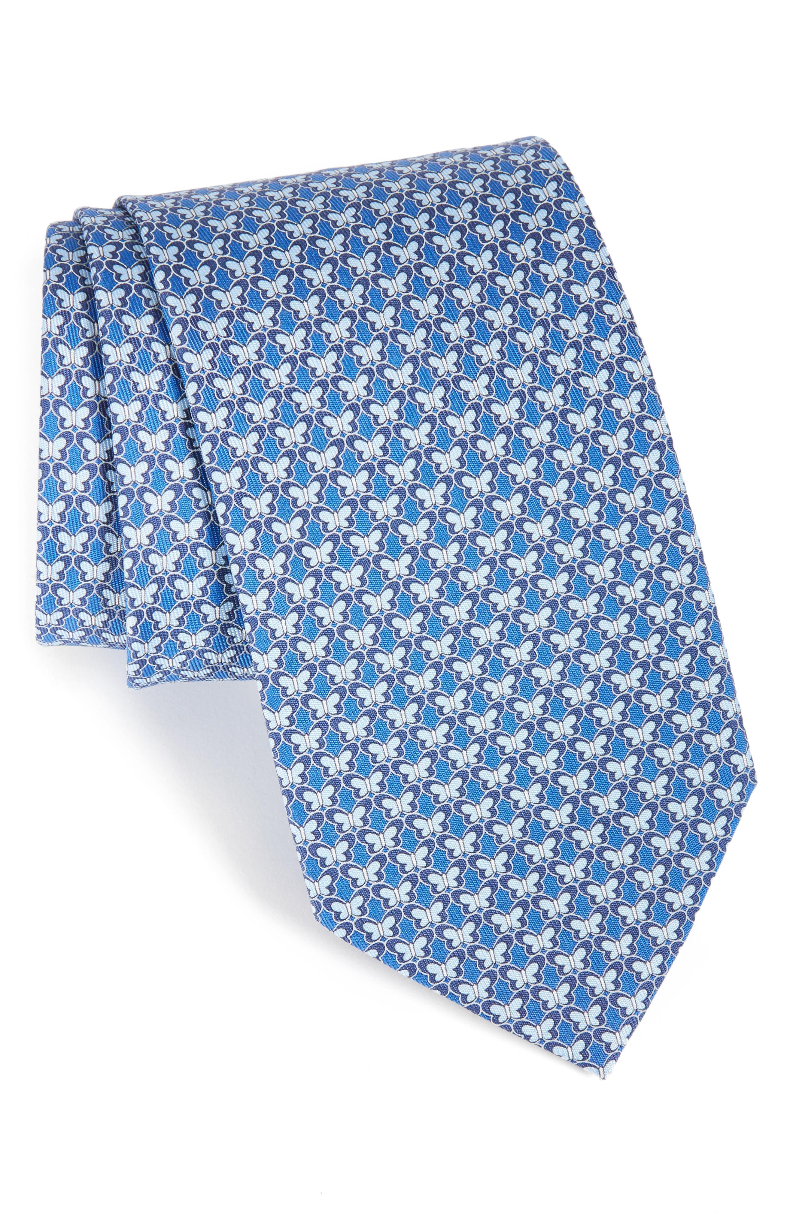 Butterfly Print Silk Tie,                             Main thumbnail 1, color,                             Marine Blue
