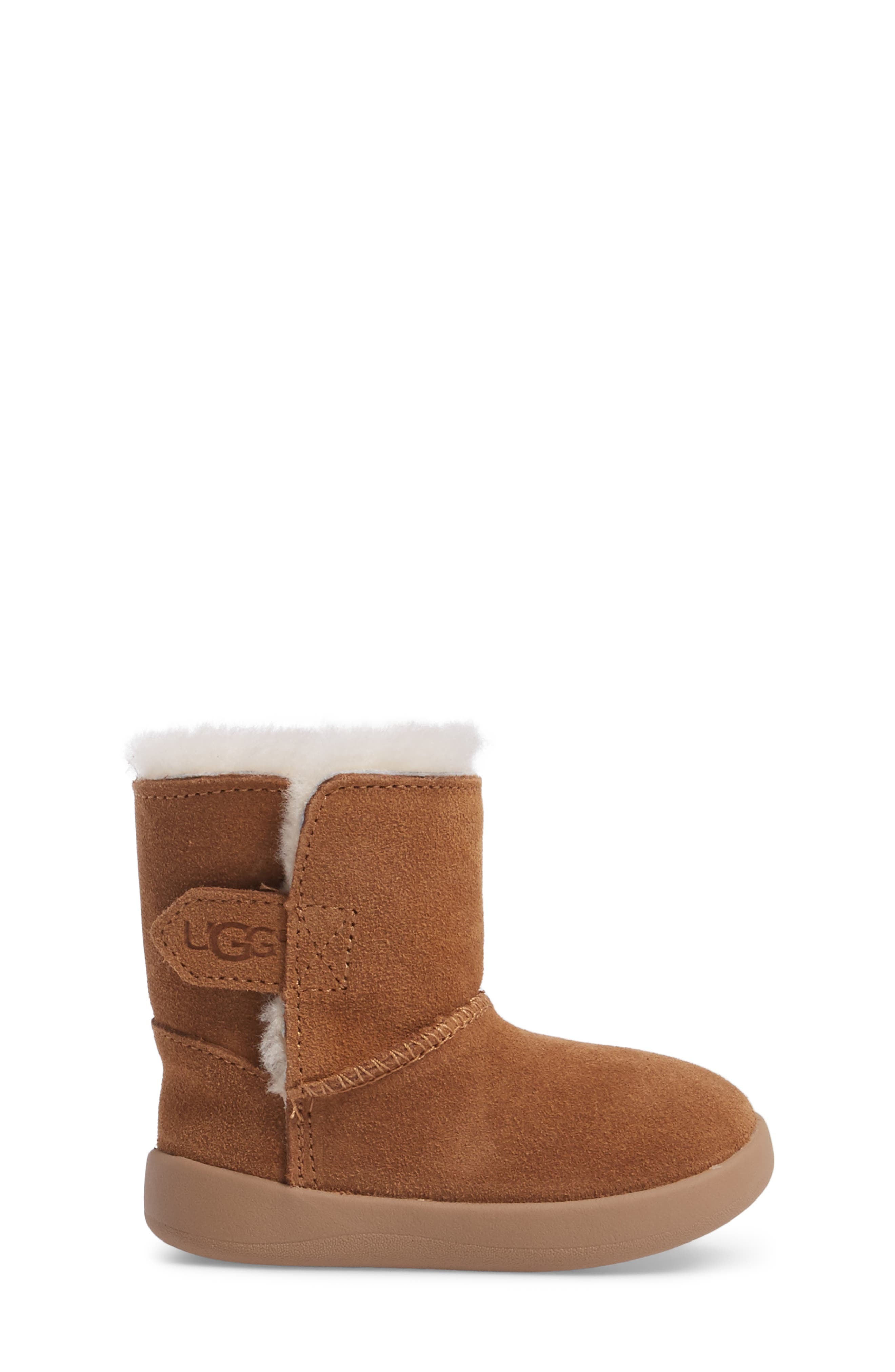 Keelan Genuine Shearling Baby Bootie,                             Alternate thumbnail 3, color,                             Chestnut Brown