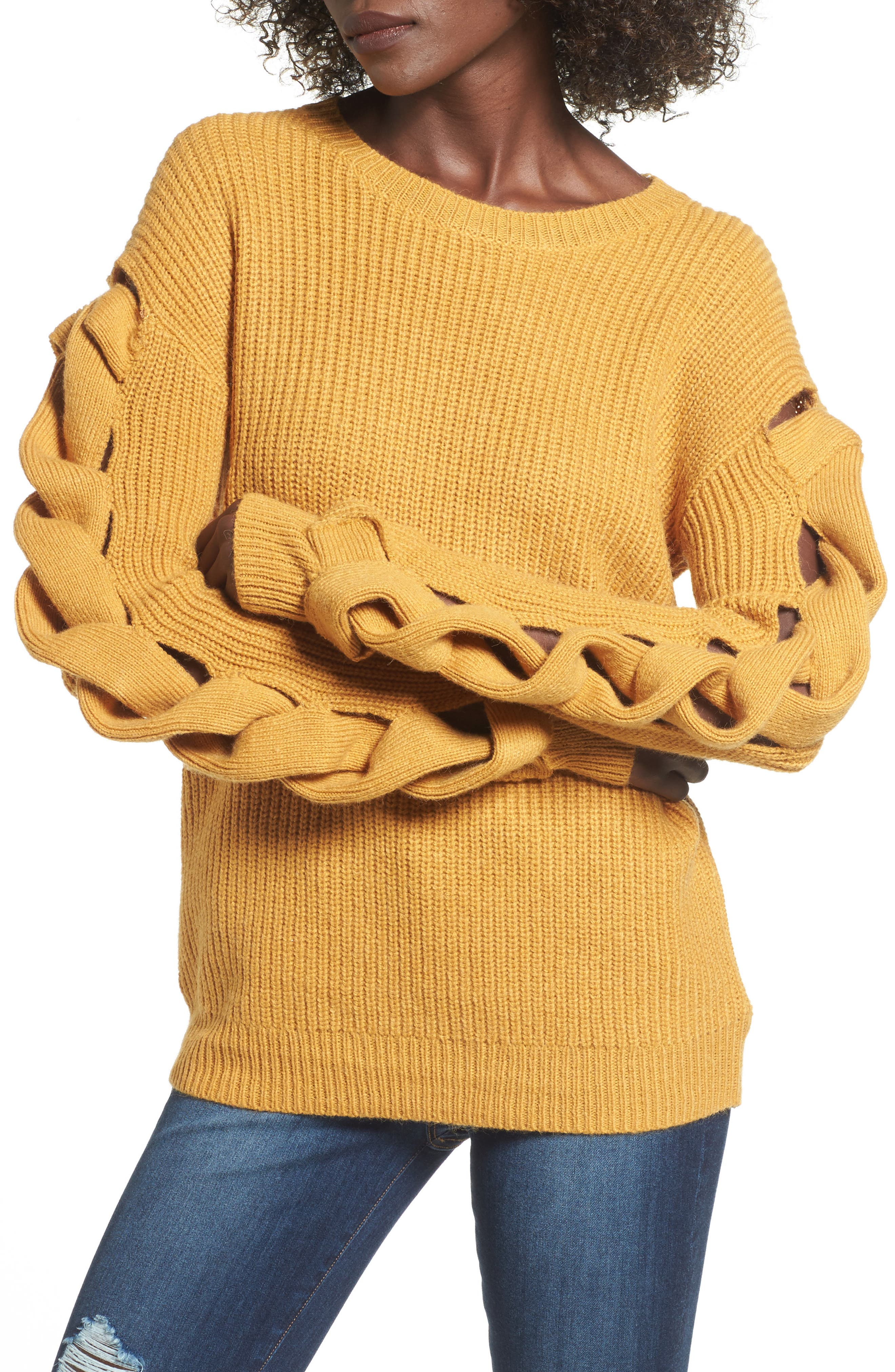 Twist Sleeve Sweater,                             Main thumbnail 1, color,                             Yellow Spruce