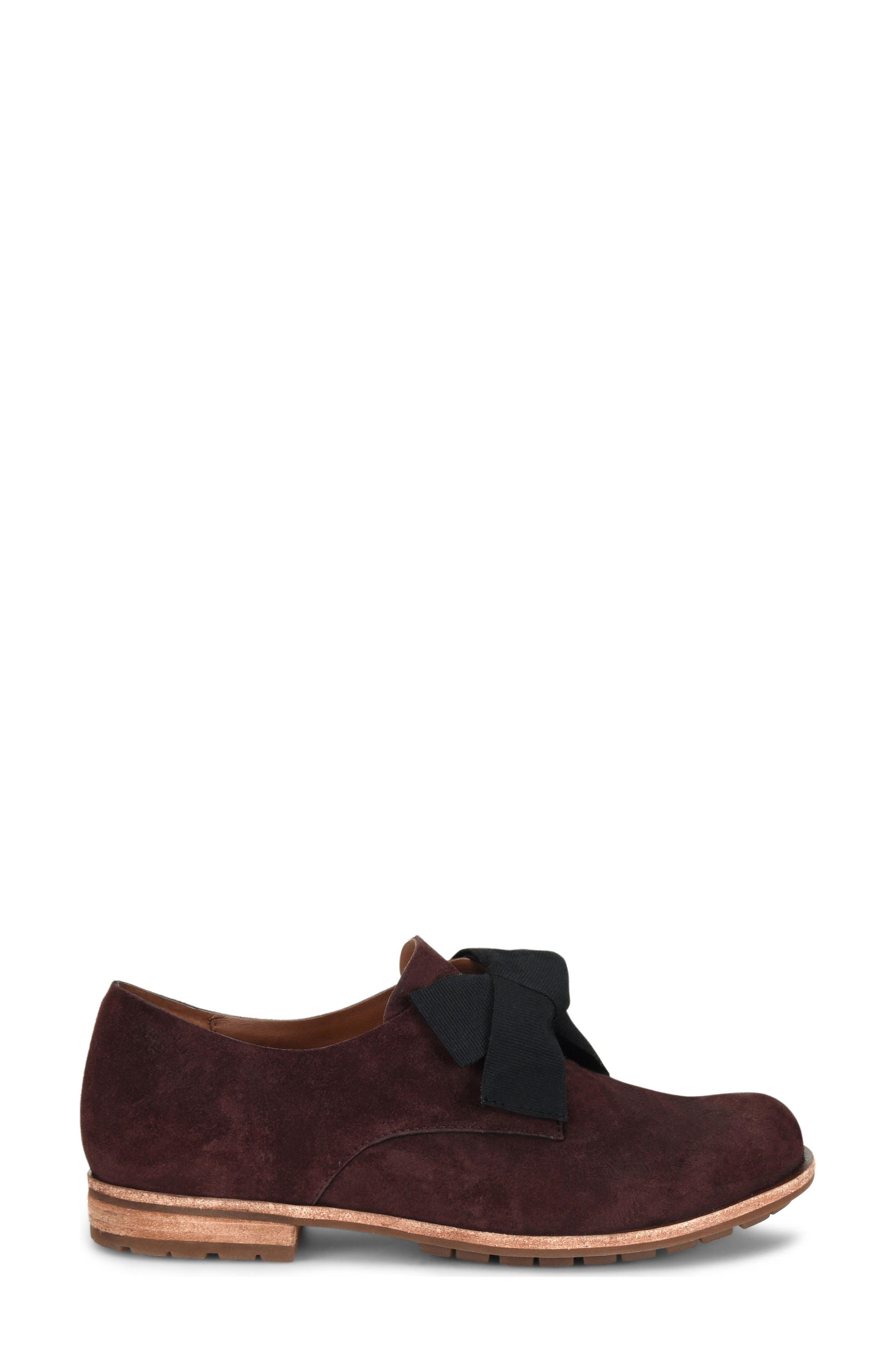 Beryl Bow Flat,                             Alternate thumbnail 3, color,                             Burgundy Suede