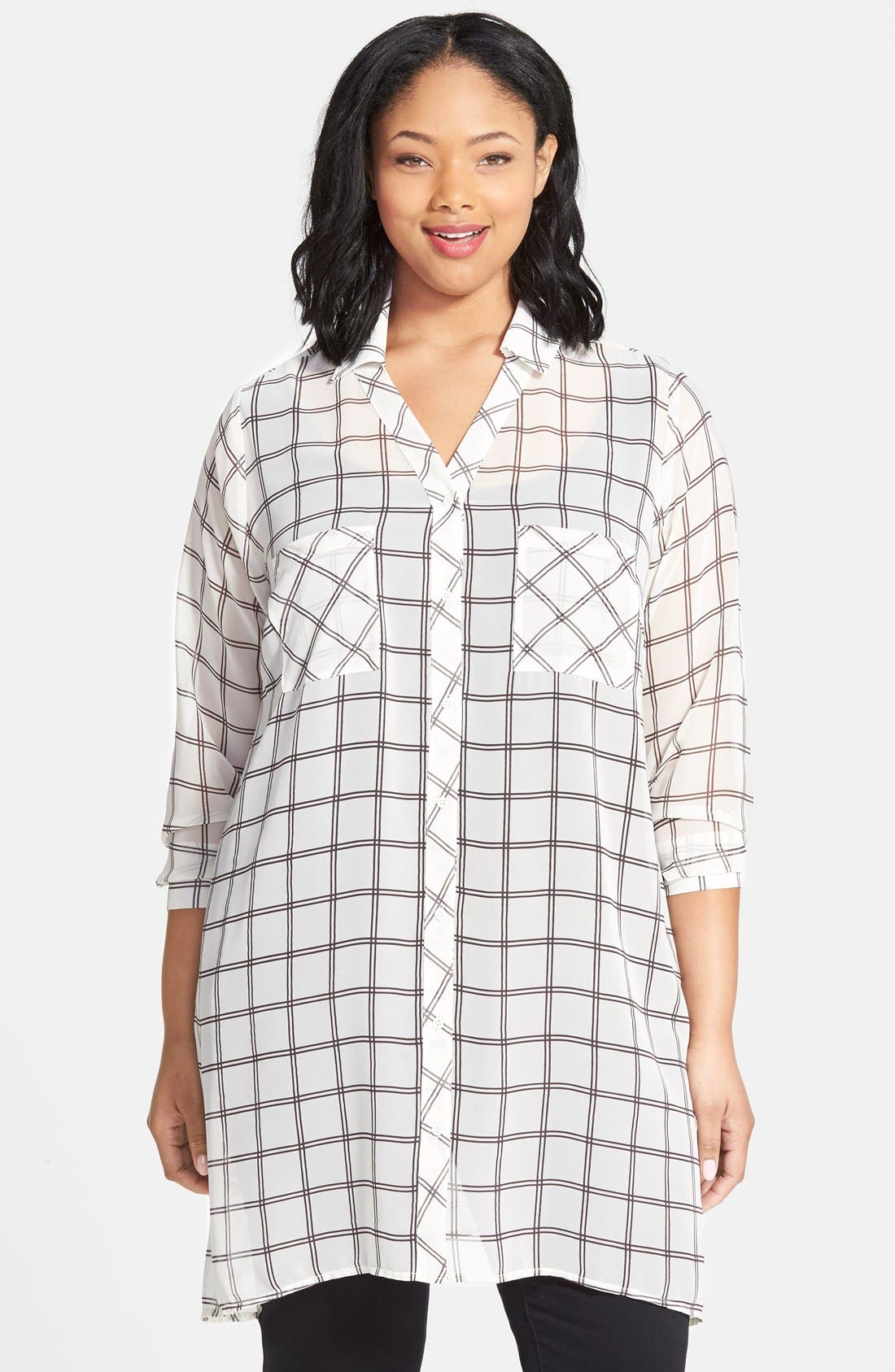 Alternate Image 1 Selected - Pleione Plaid Chiffon Tunic (Plus Size)