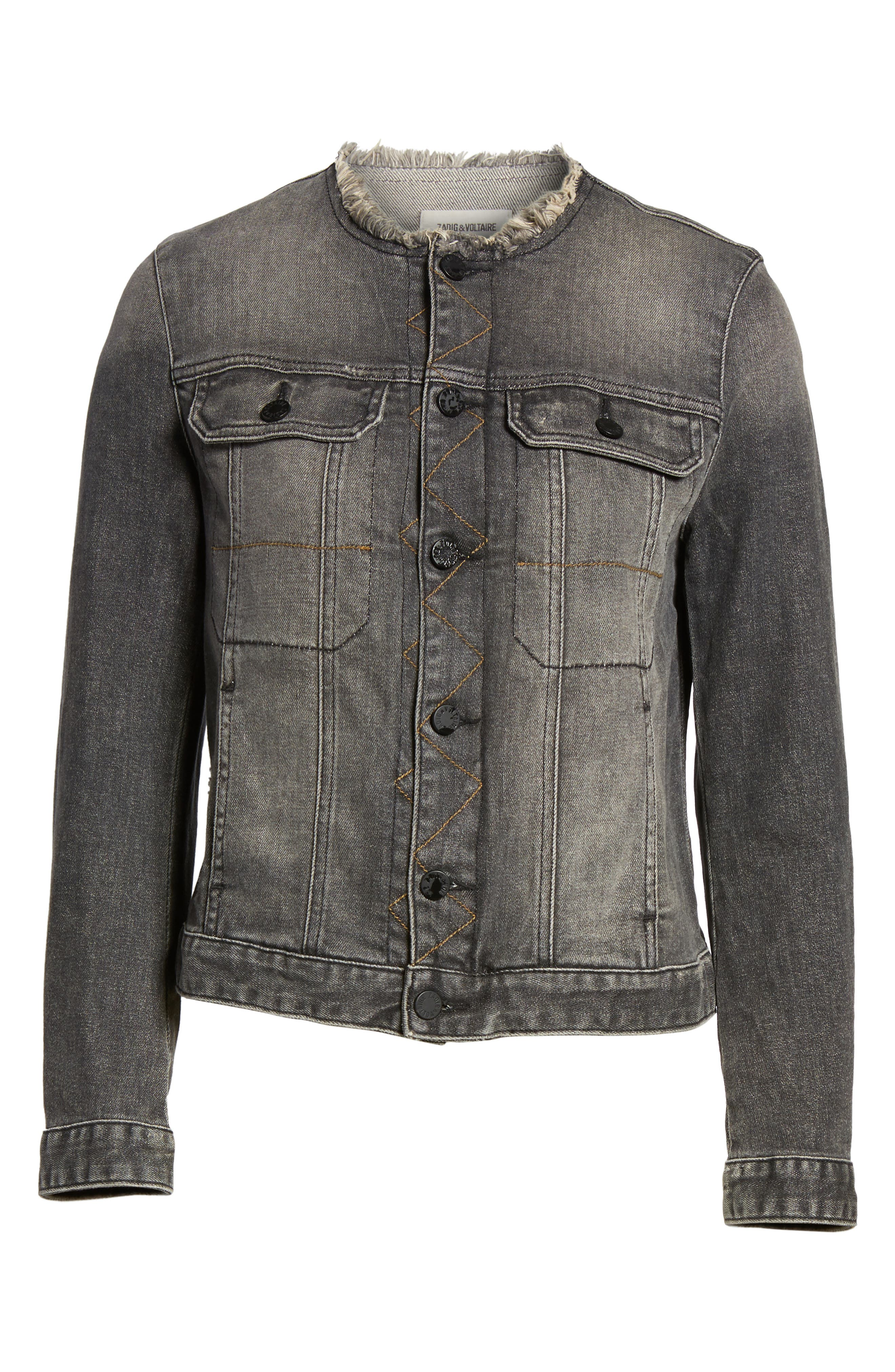 Love Now Crop Denim Jacket,                             Alternate thumbnail 6, color,                             Gris