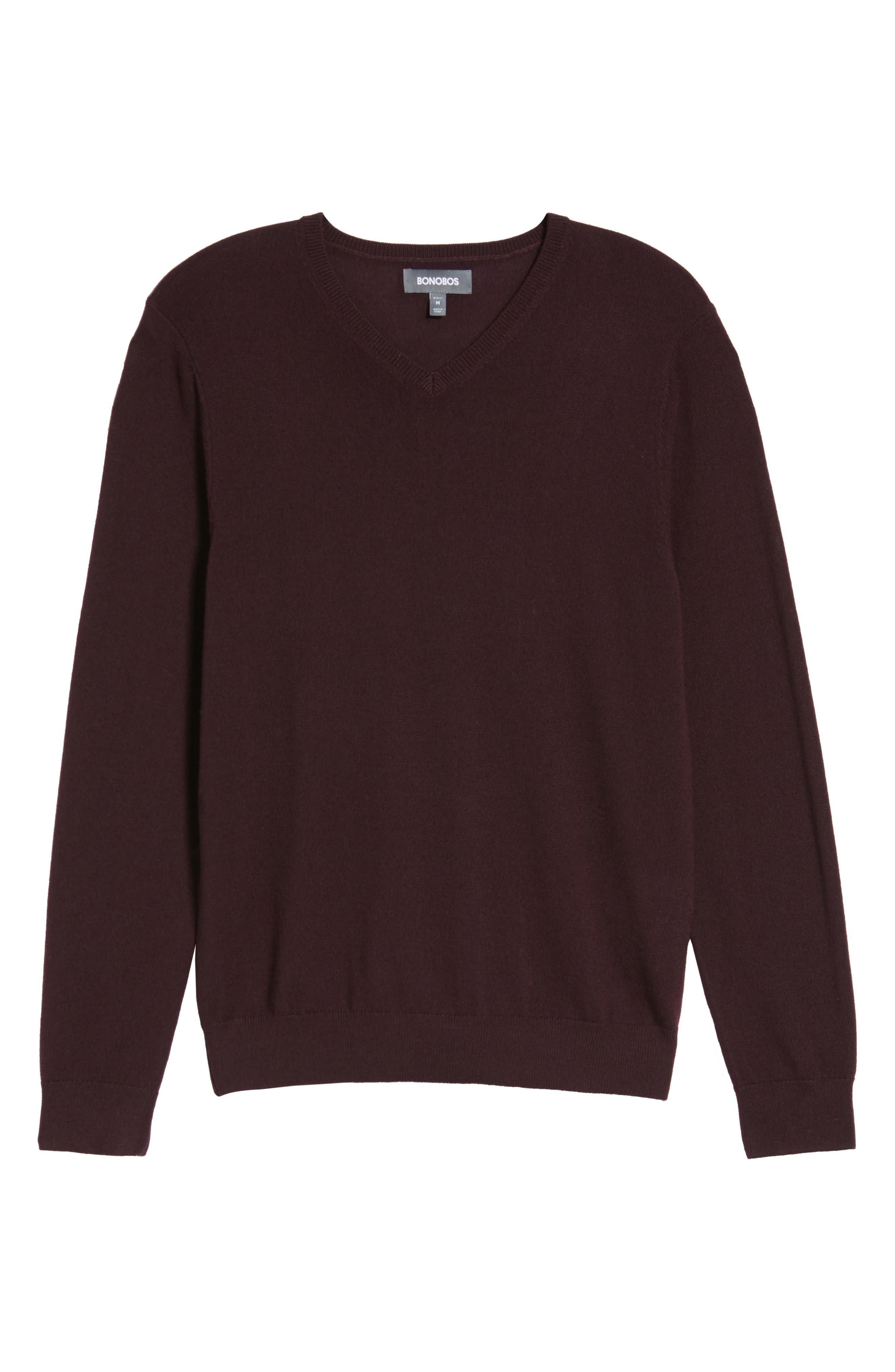 Merino V-Neck Sweater,                             Alternate thumbnail 6, color,                             Port