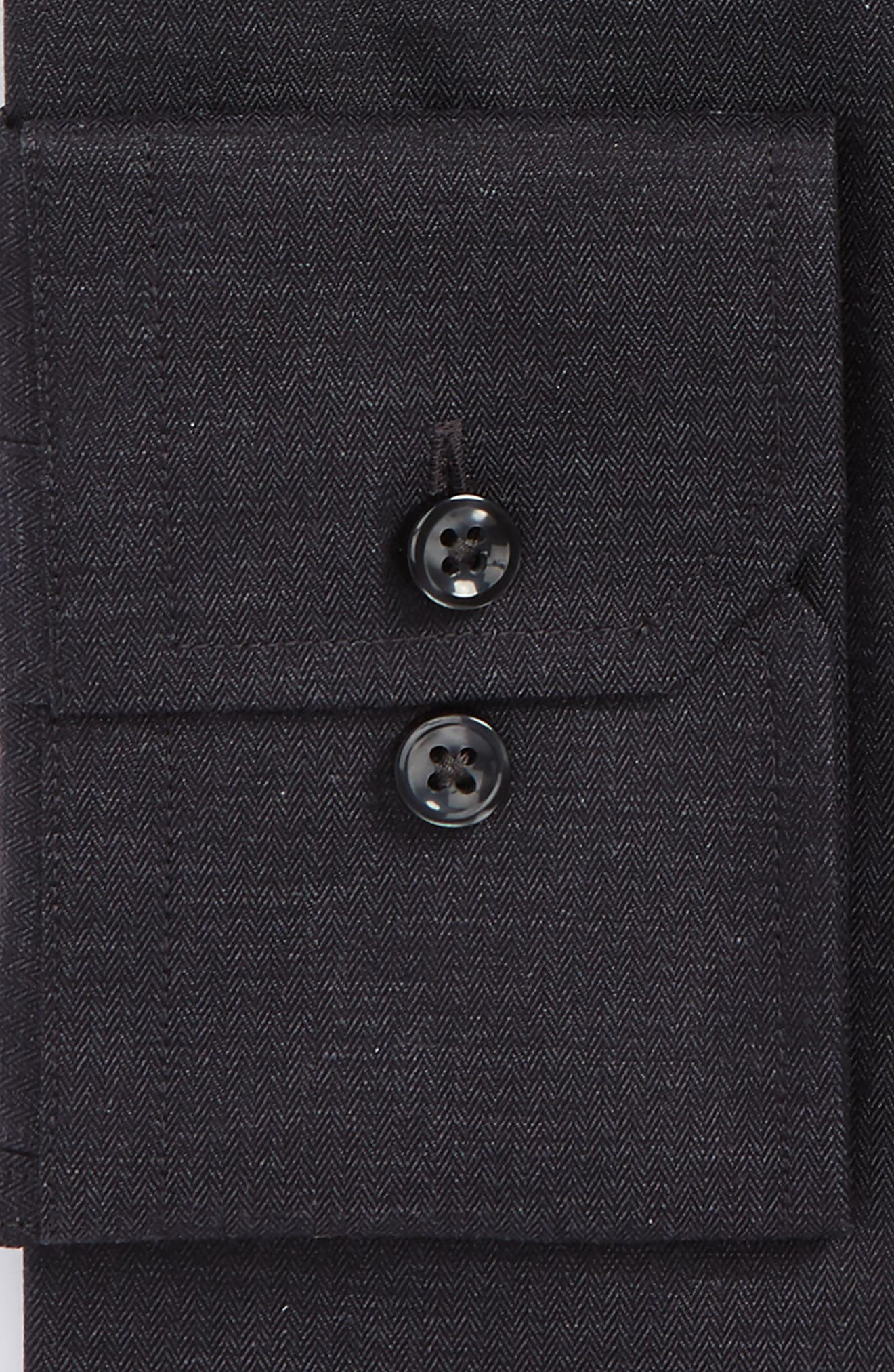 Trim Fit Herringbone Dress Shirt,                             Alternate thumbnail 2, color,                             Charcoal