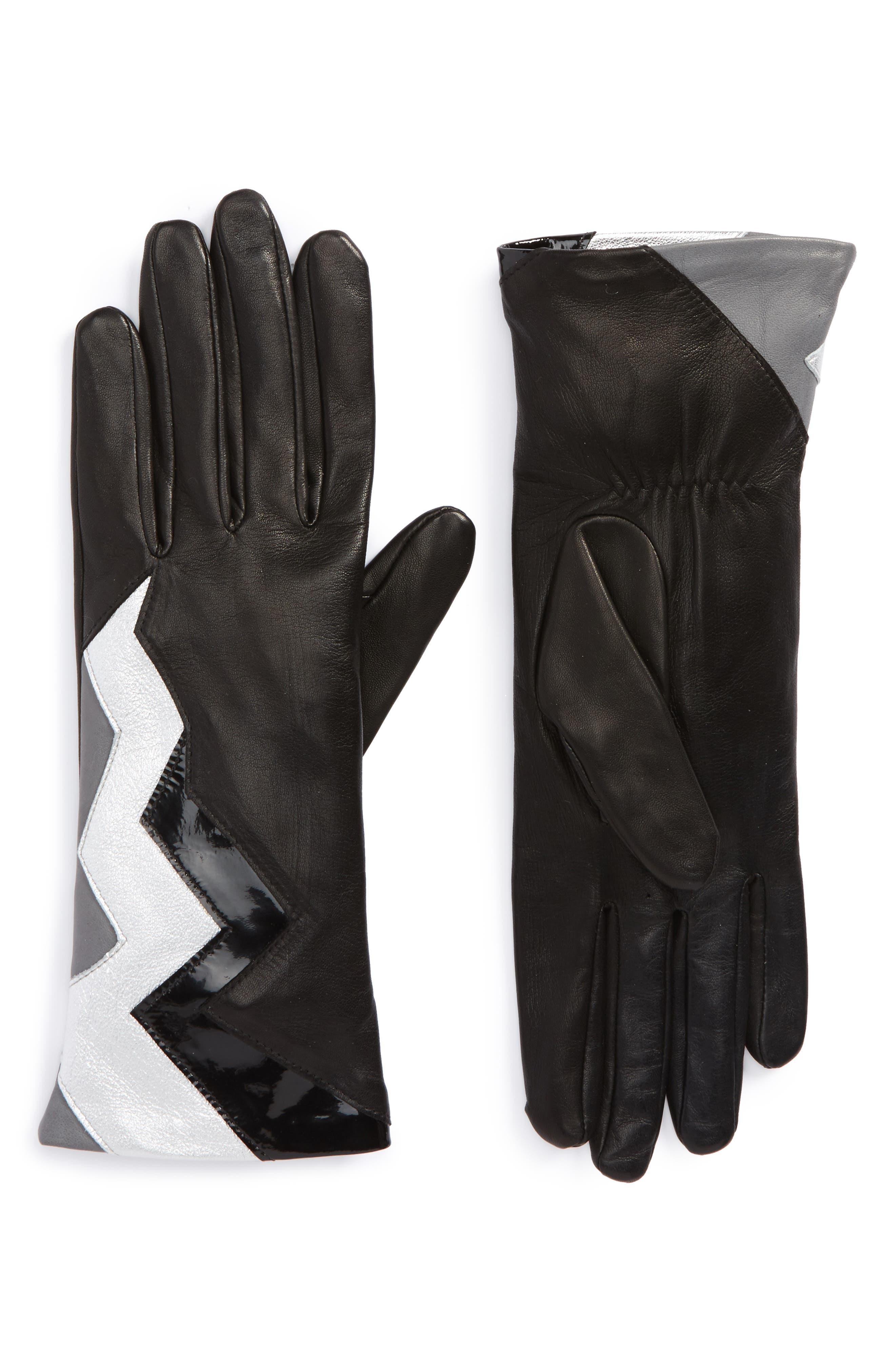 Zigzag Lambskin Leather Gloves,                         Main,                         color, Noir