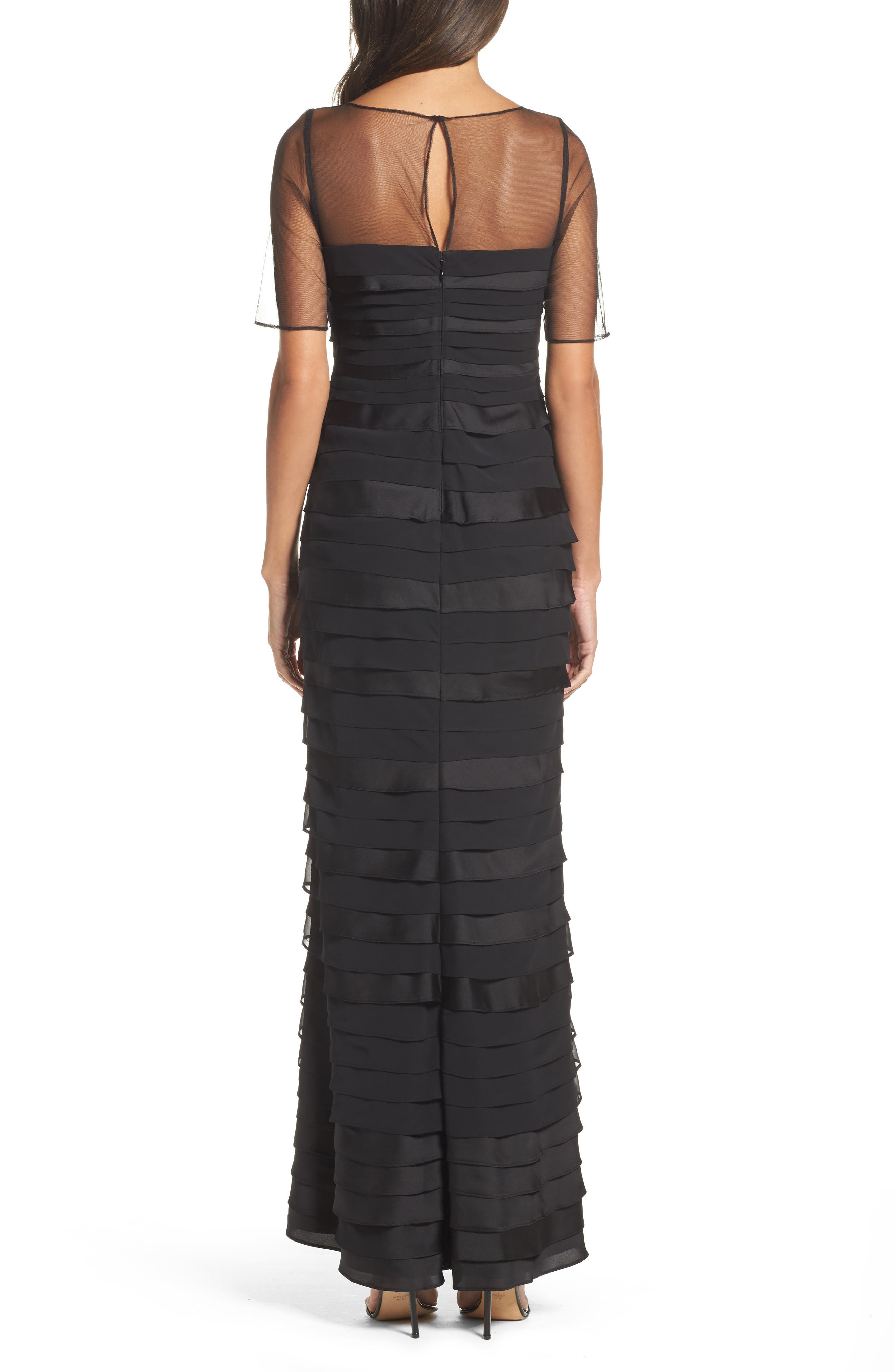 Illusion Shutter Chiffon Gown,                             Alternate thumbnail 2, color,                             Black