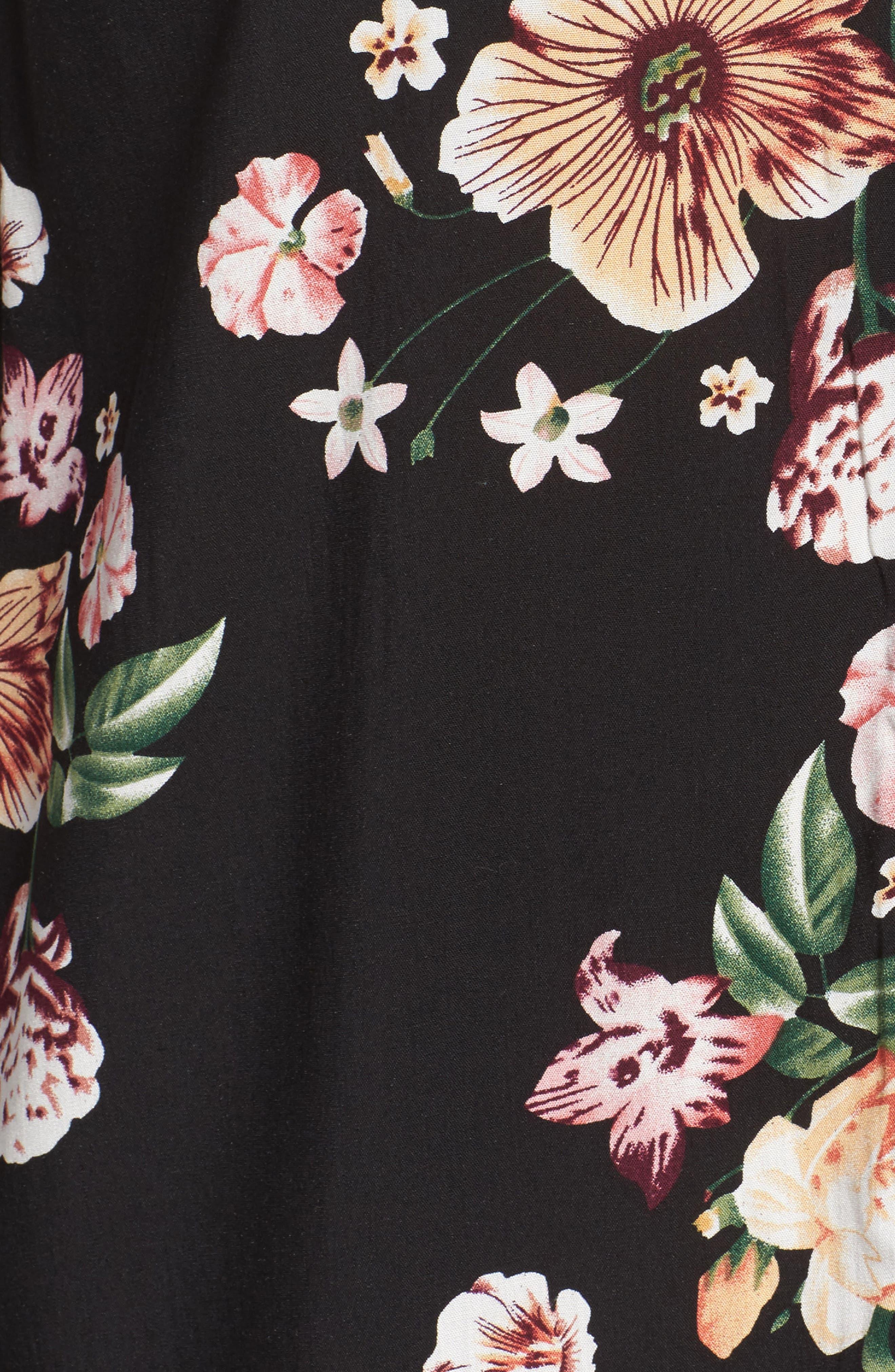 Bell Sleeve Floral Shift Dress,                             Alternate thumbnail 5, color,                             Black Tropic Flower