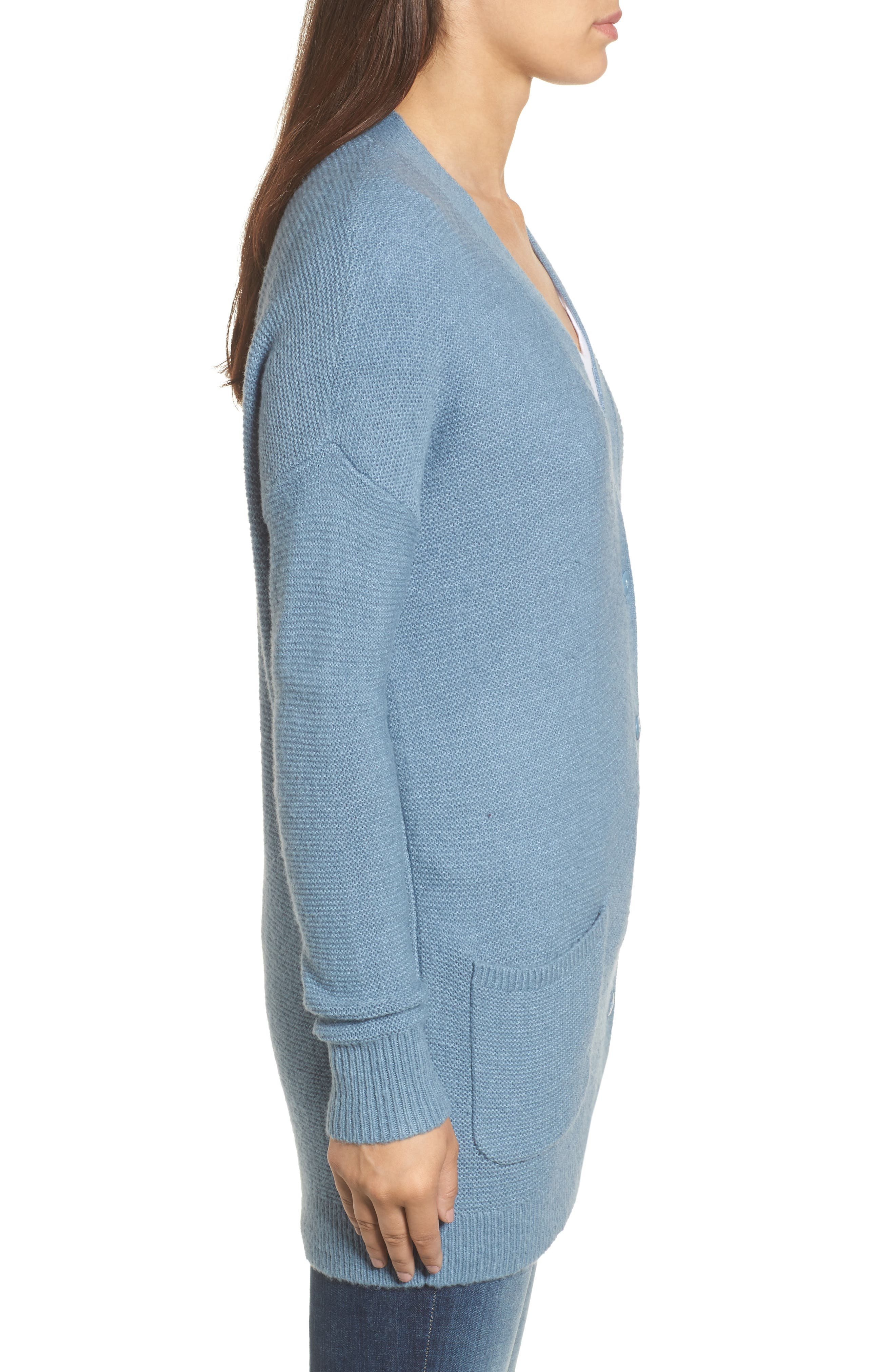Relaxed Boyfriend Cardigan,                             Alternate thumbnail 3, color,                             Blue