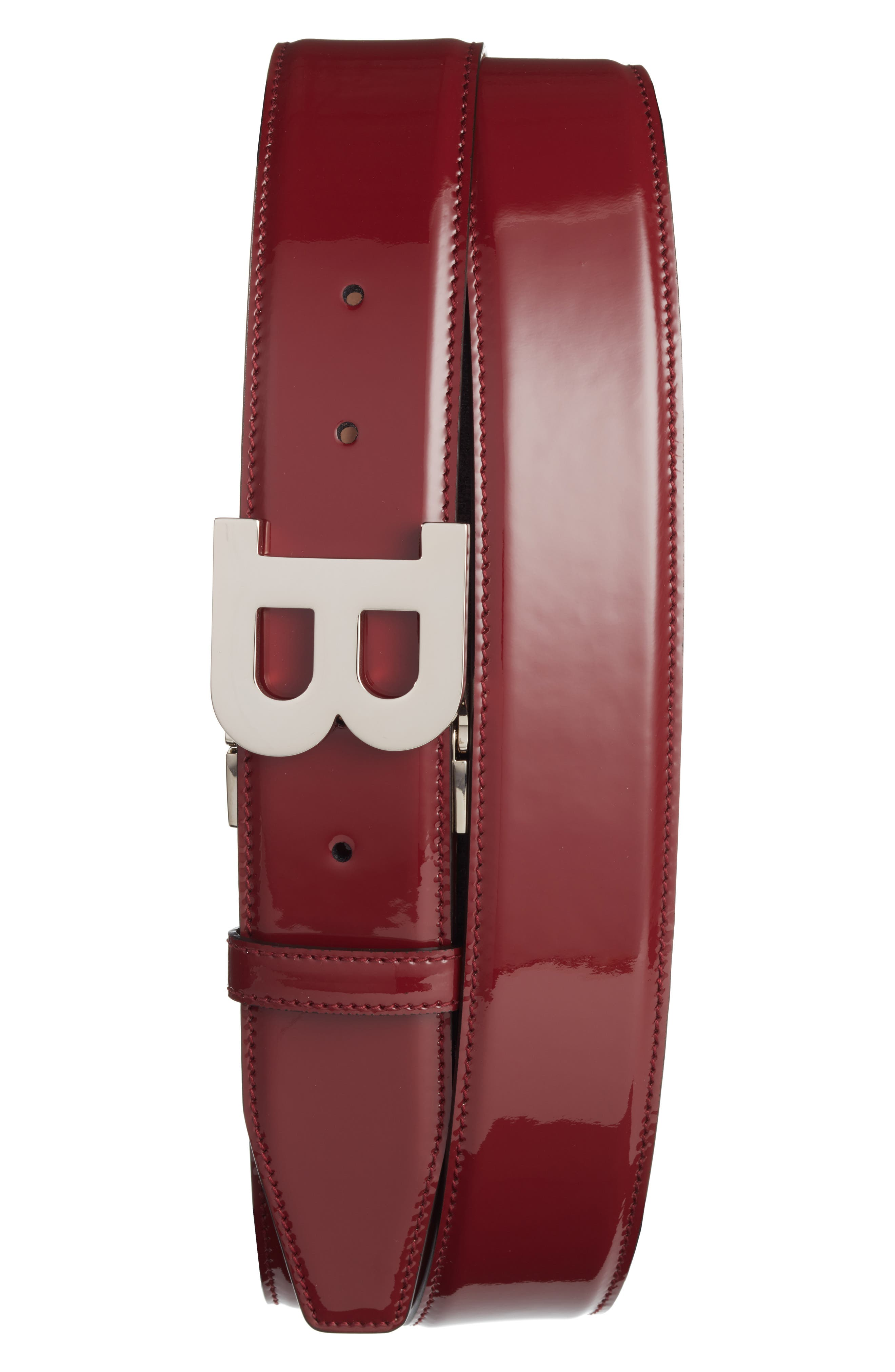 B Buckle Patent Leather Belt,                         Main,                         color, Dark Red