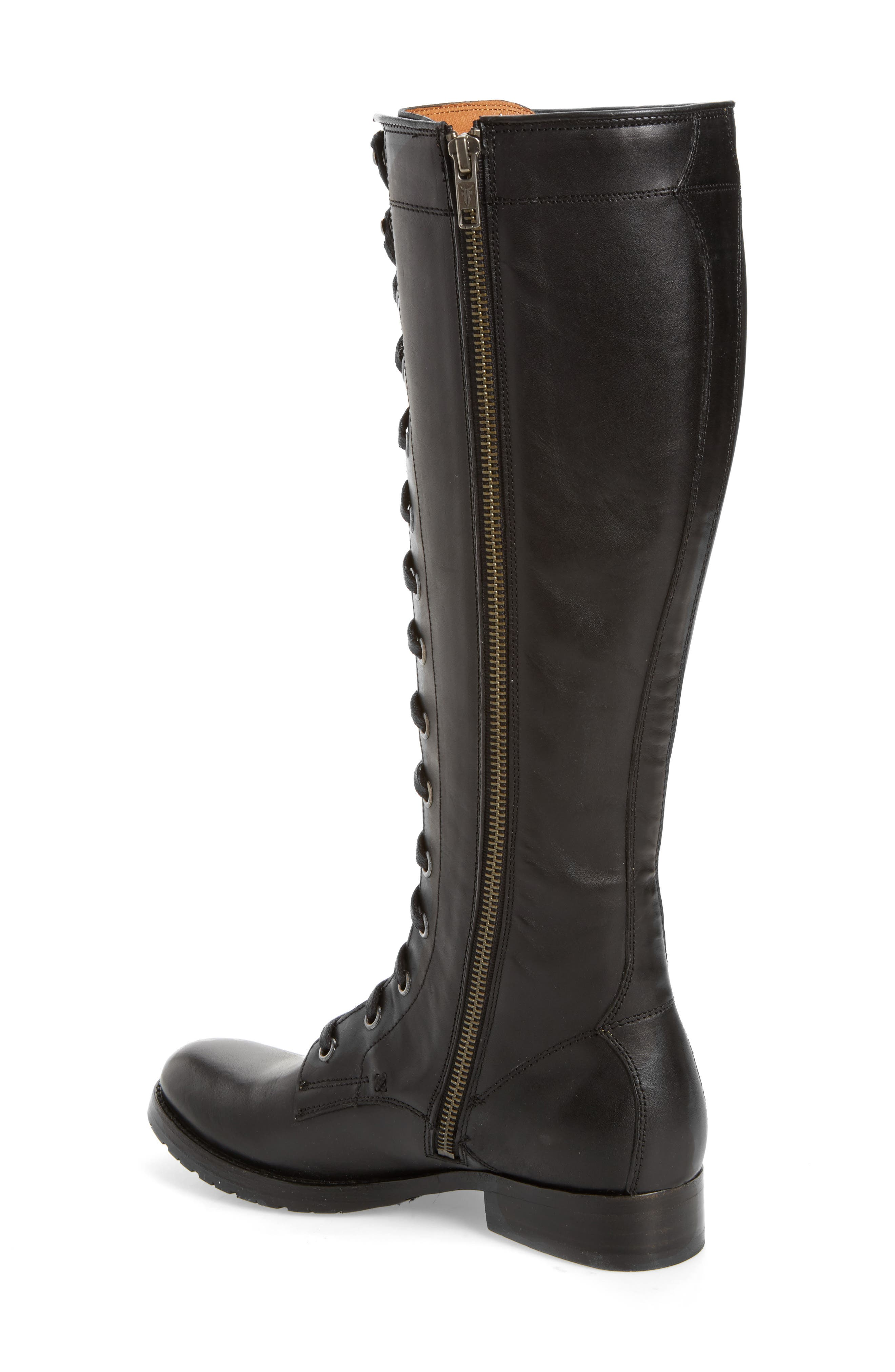 Melissa Tall Lace-Up Boot,                             Alternate thumbnail 2, color,                             Black Fabric