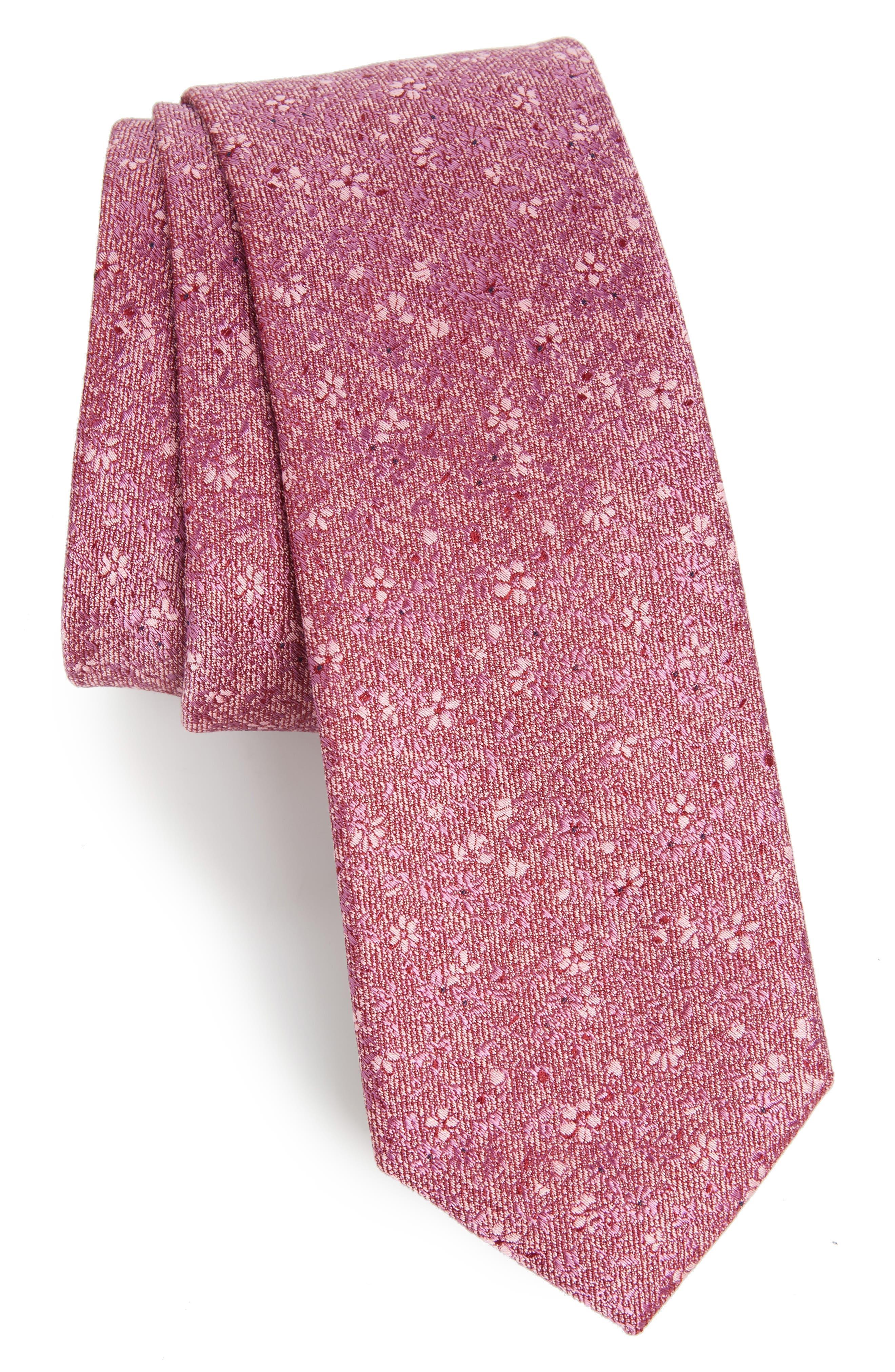 Main Image - Calibrate Lindsay Floral Print Silk & Cotton Tie