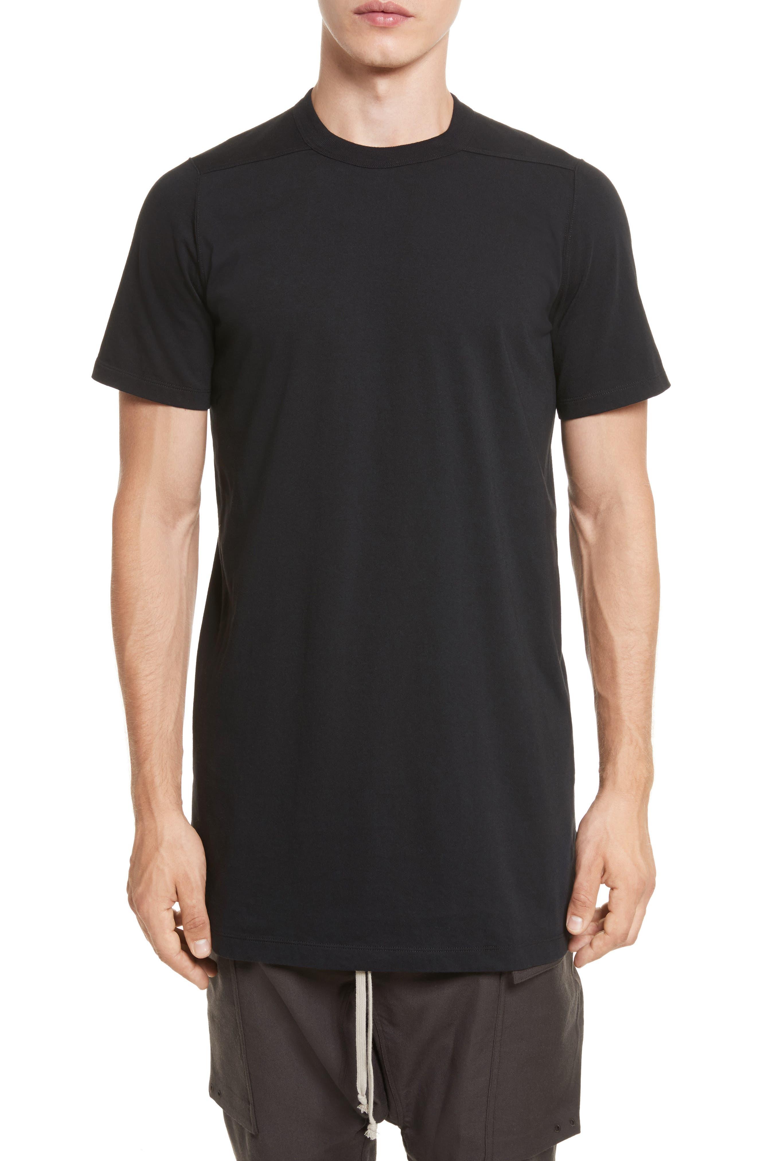 Elongated T-Shirt,                         Main,                         color, Black