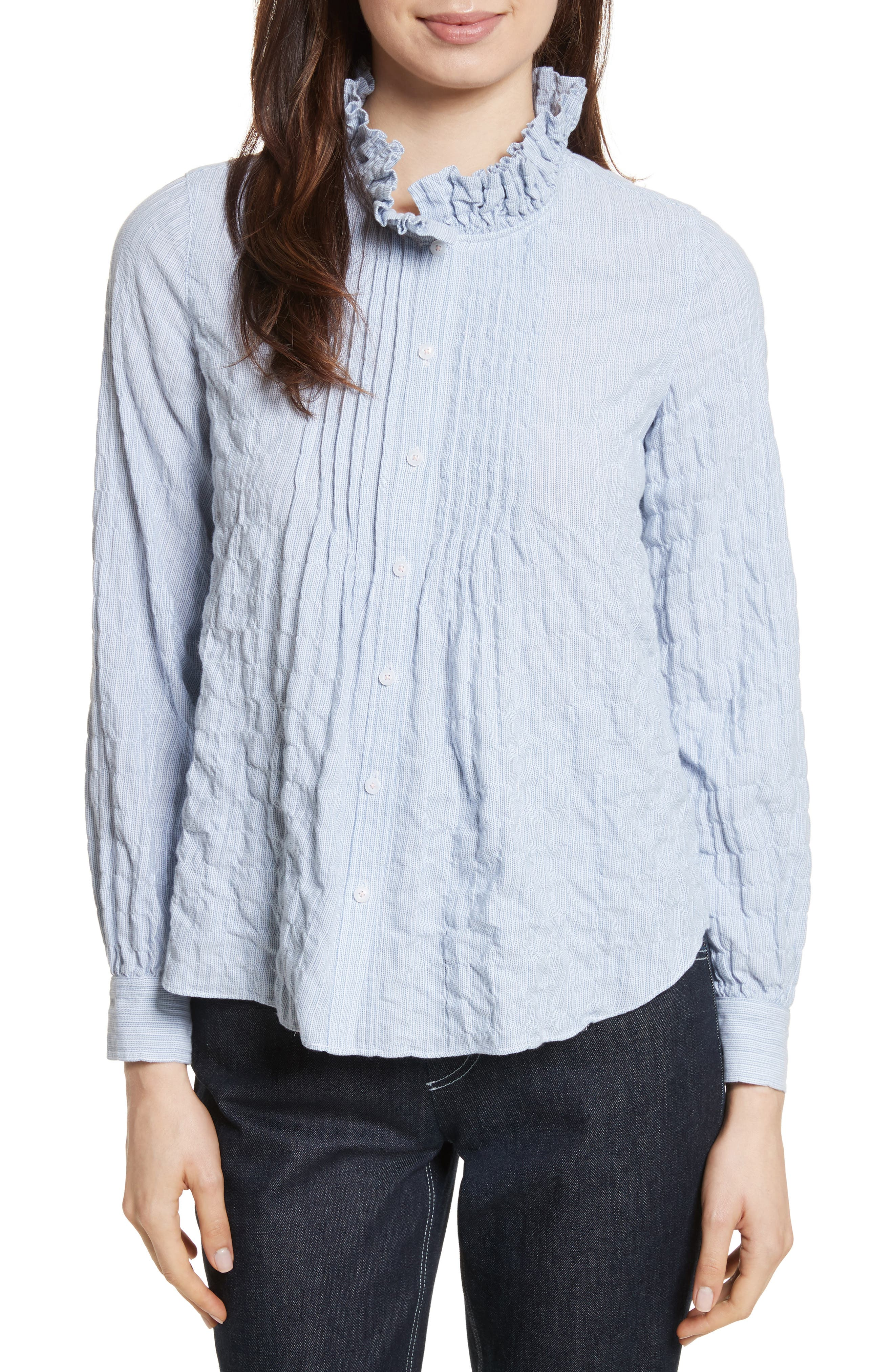Alternate Image 1 Selected - Rebecca Taylor Soft Stripe Quilted Shirt