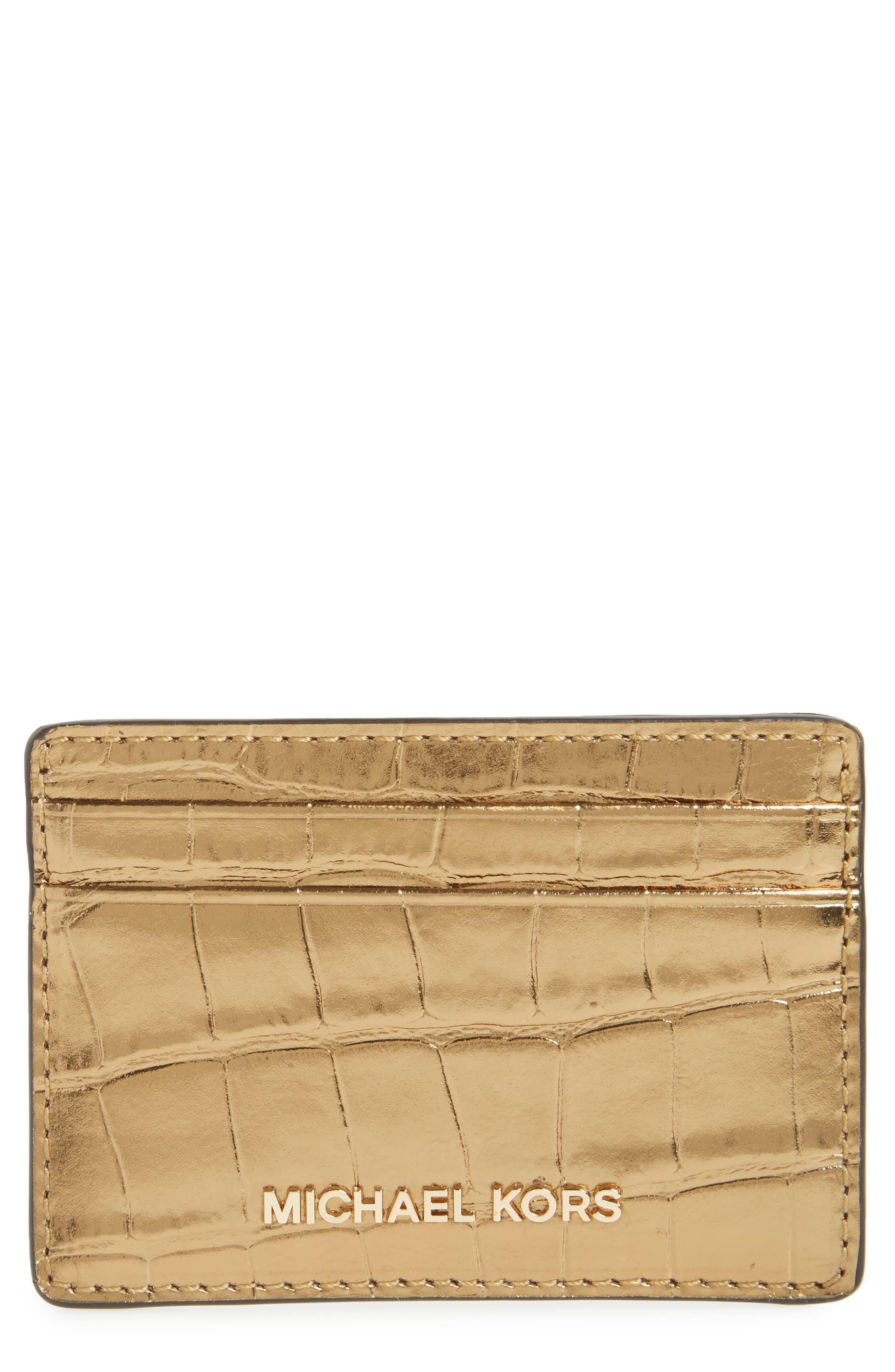 Money Pieces Card Case,                         Main,                         color, Gold