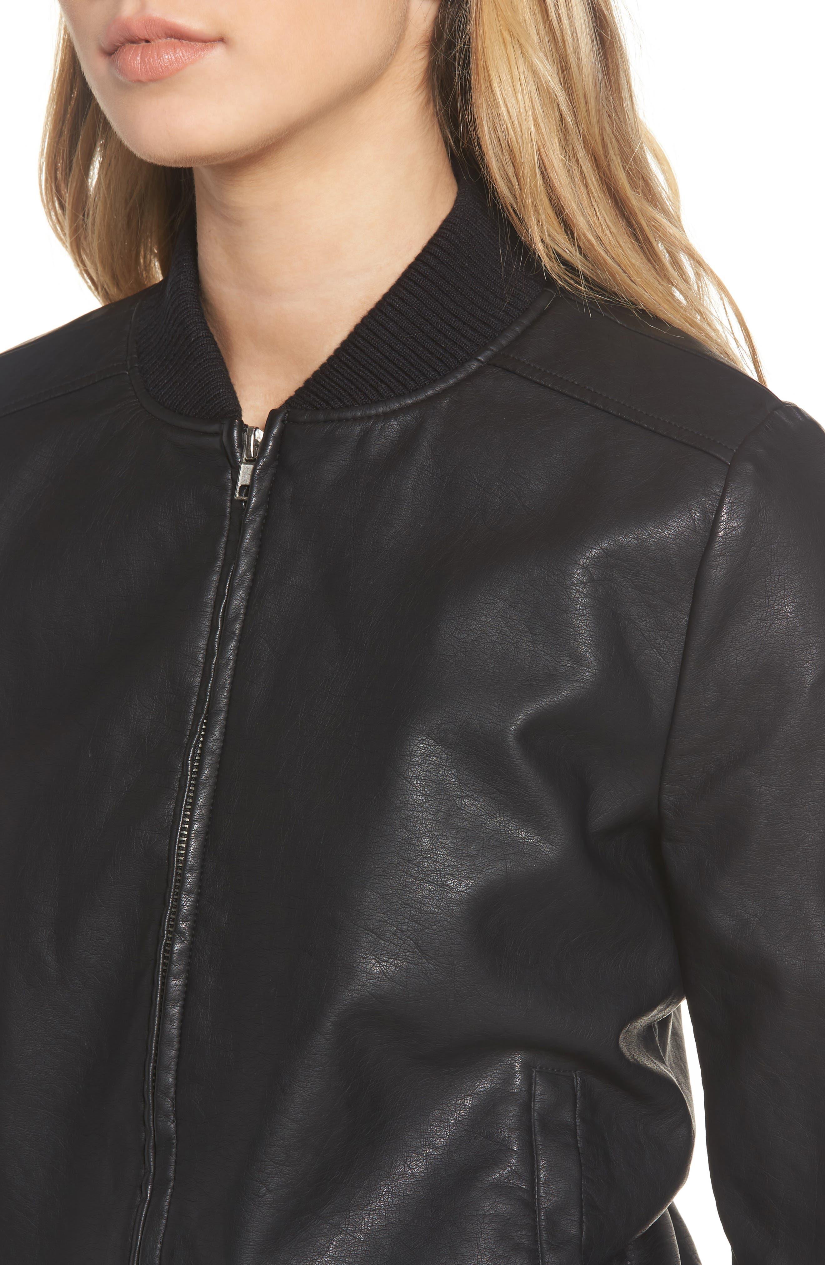Alternate Image 4  - BB Dakota Gavin Faux Leather Bomber Jacket