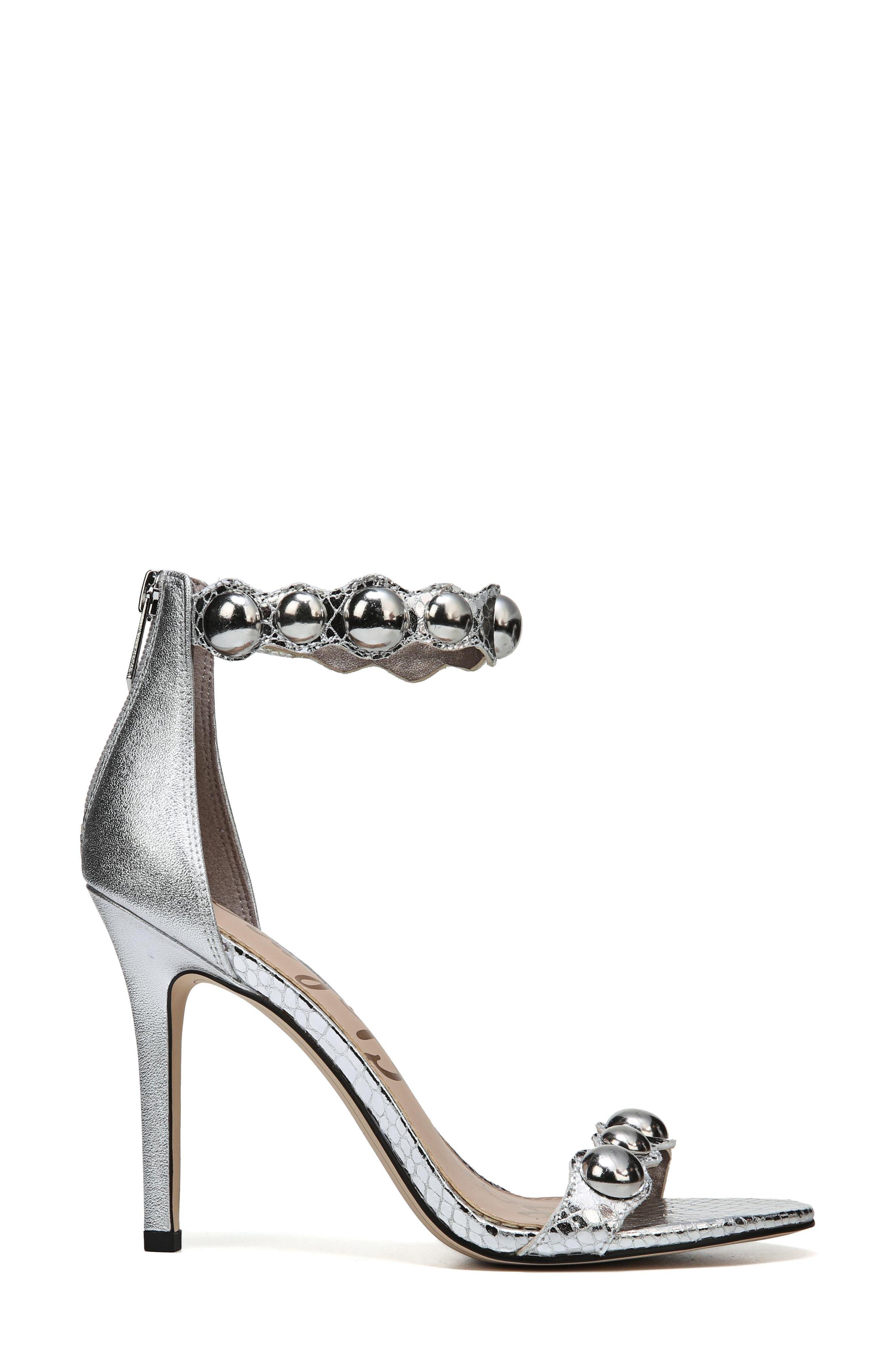 Sam Edelmen Addison Embellished Ankle Strap Sandal,                             Alternate thumbnail 3, color,                             Soft Silver