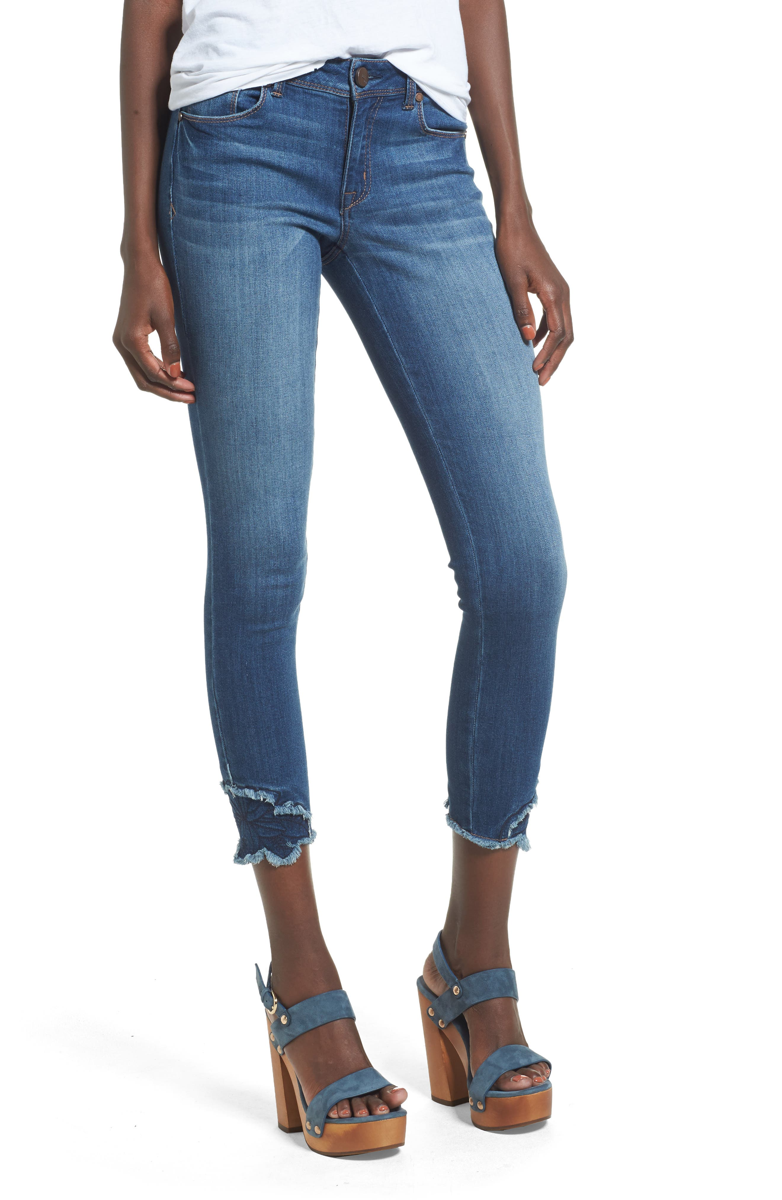 1822 Denim Embroidered Hem Skinny Jeans (River Blue)