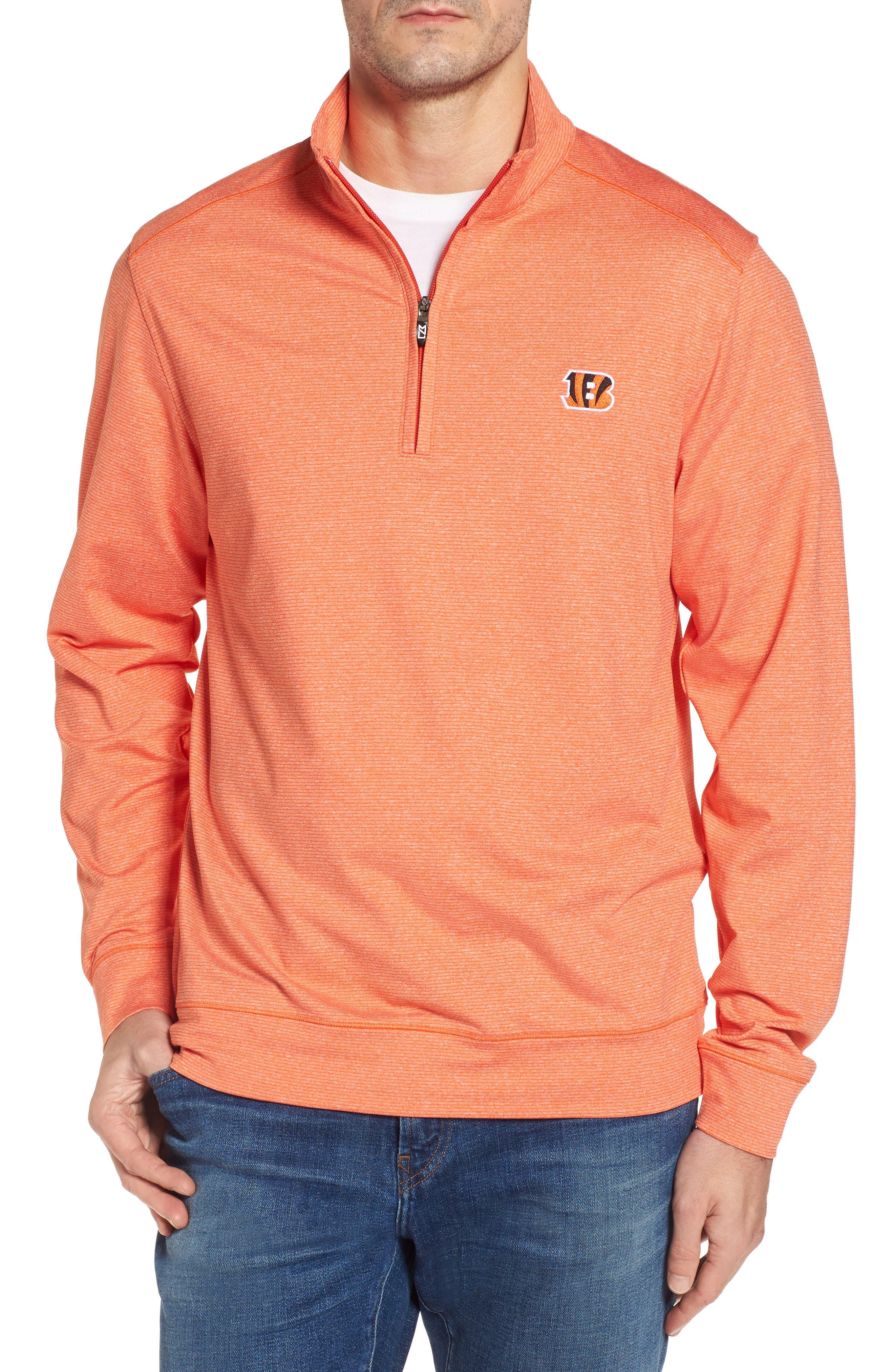 Shoreline - Cincinnati Bengals Half Zip Pullover,                         Main,                         color, College Orange Heather
