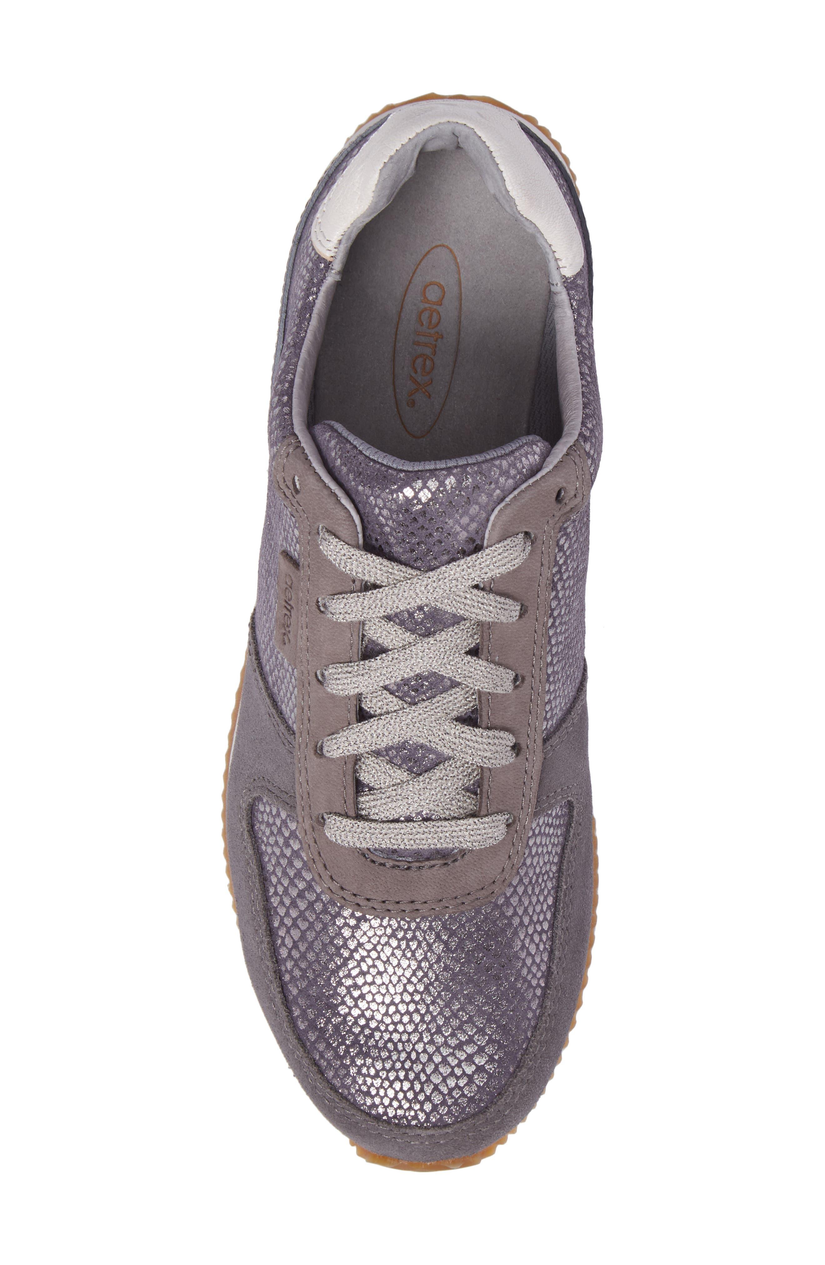Daphne Sneaker,                             Alternate thumbnail 5, color,                             Grey Leather