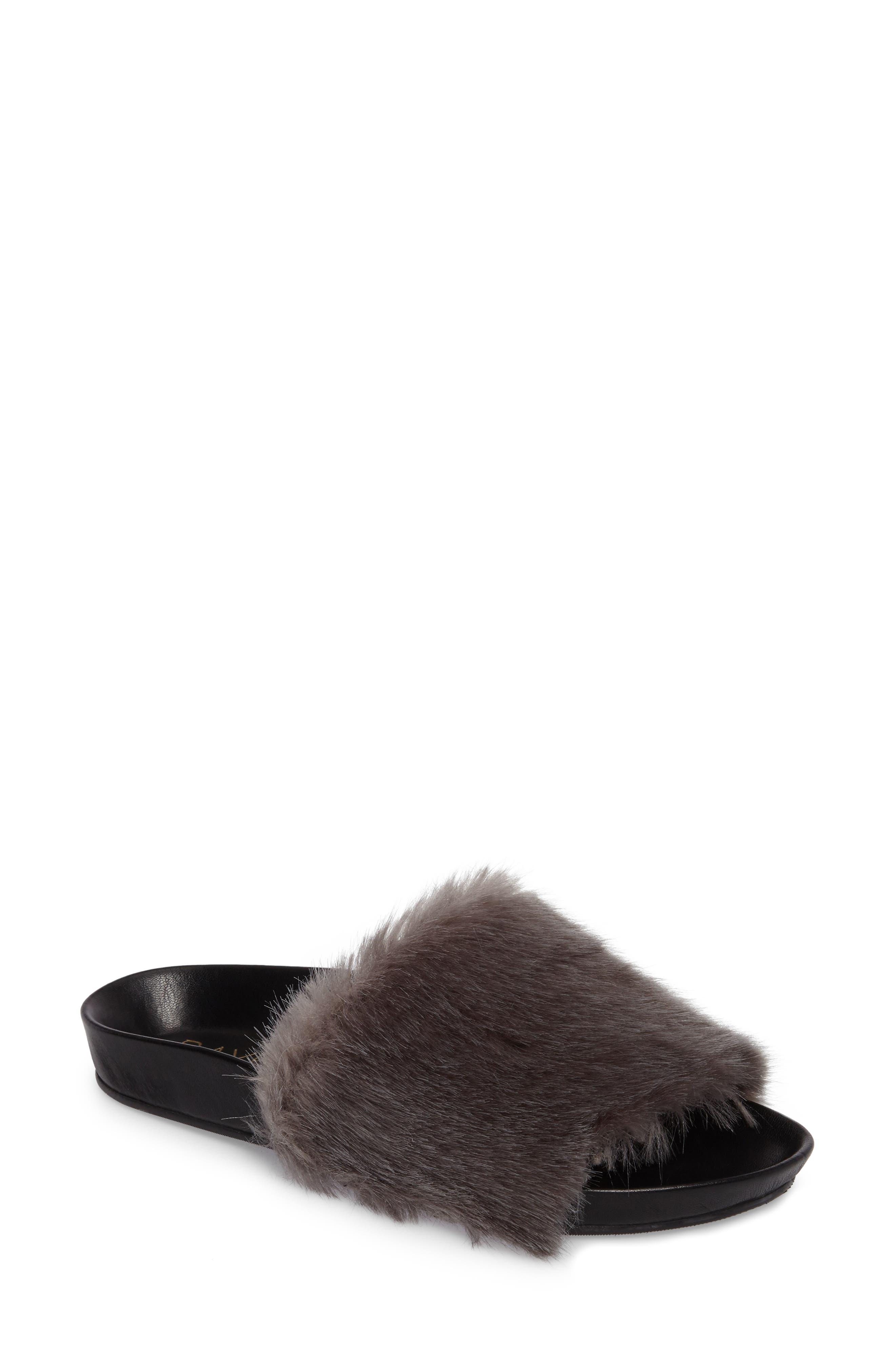 Sirius Faux Fur Slide,                         Main,                         color, Silver Fur