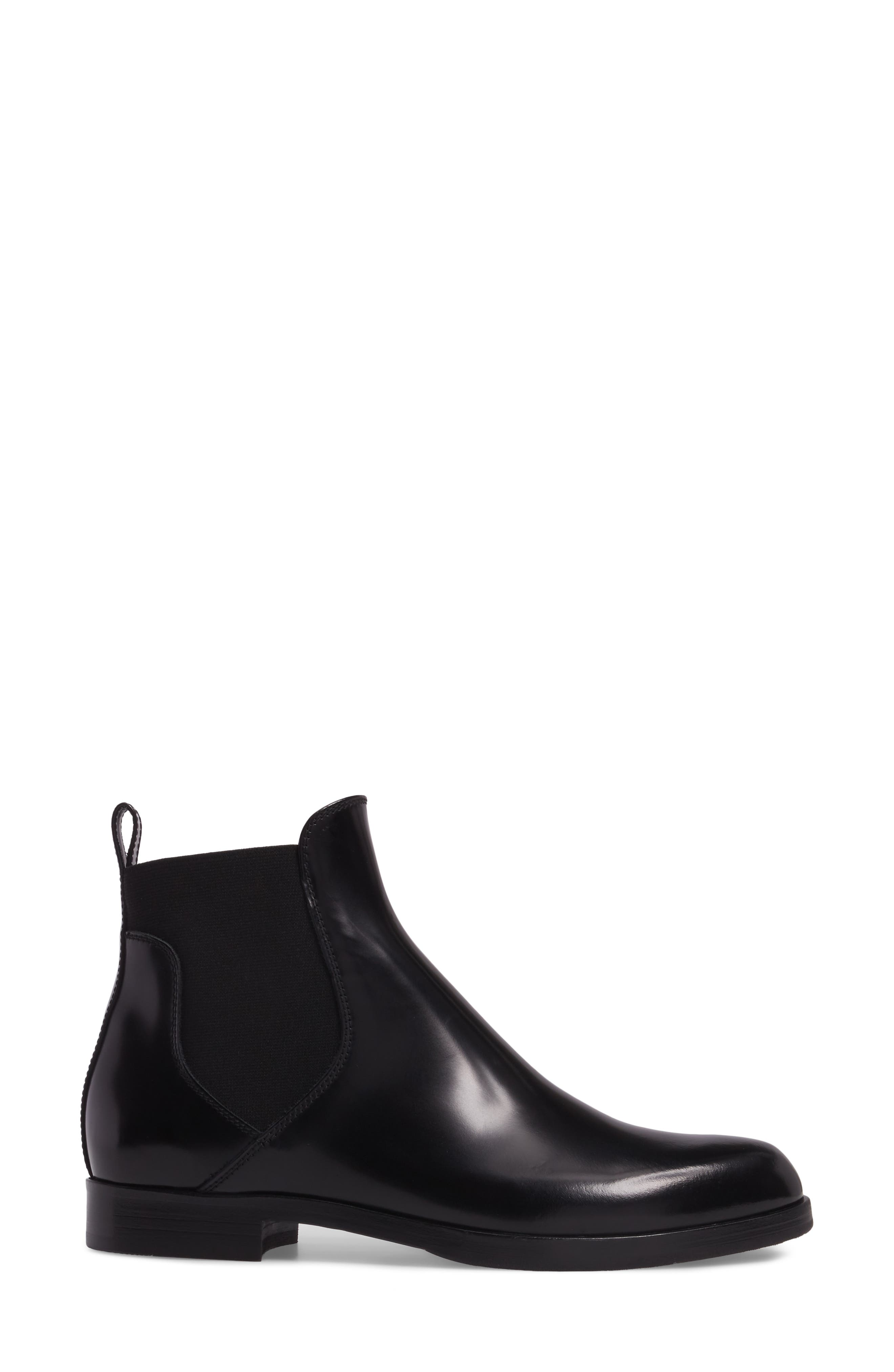 Gored Bootie,                             Alternate thumbnail 3, color,                             Black Leather