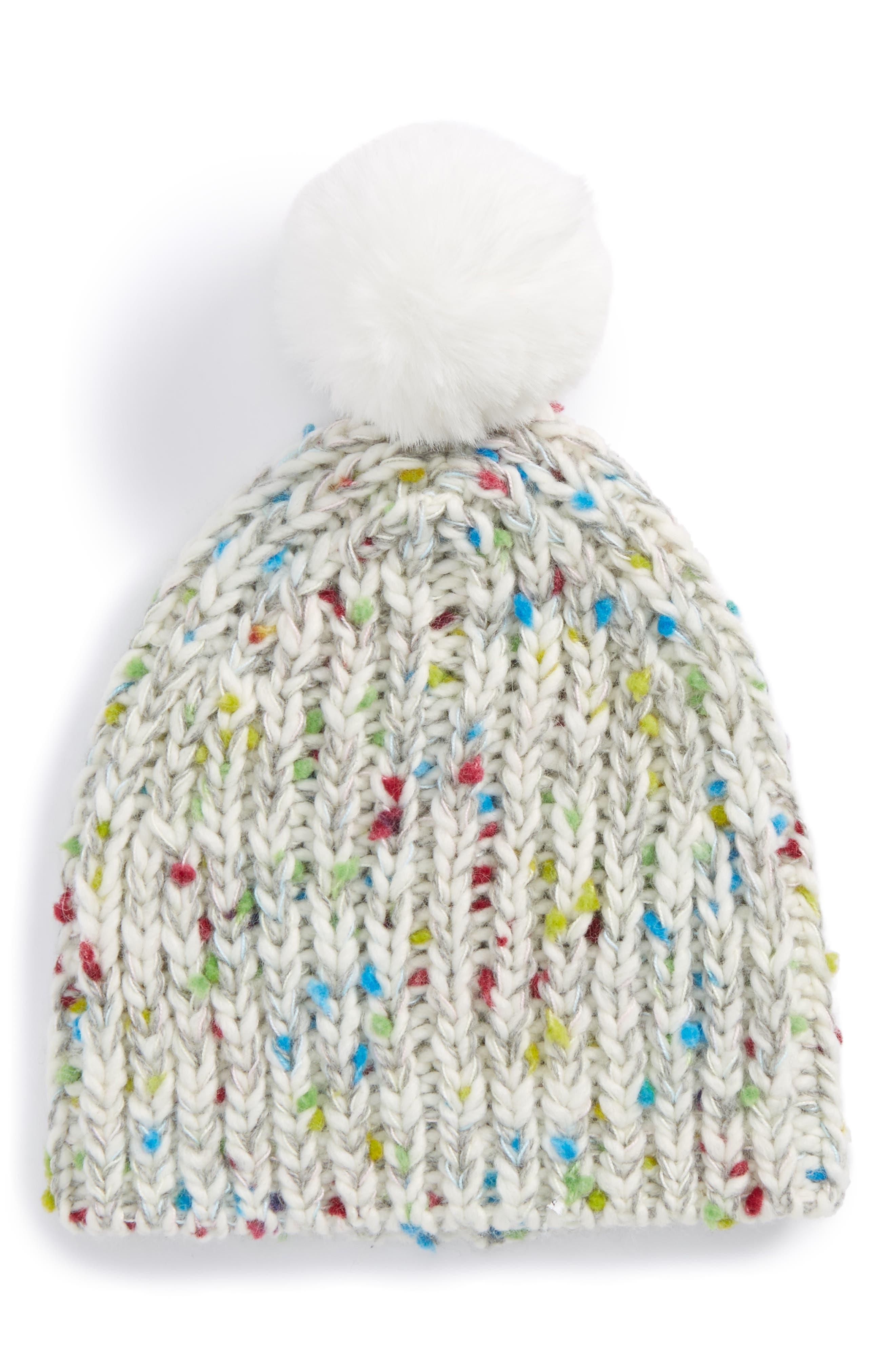 Pom Hat,                             Main thumbnail 1, color,                             White Multi