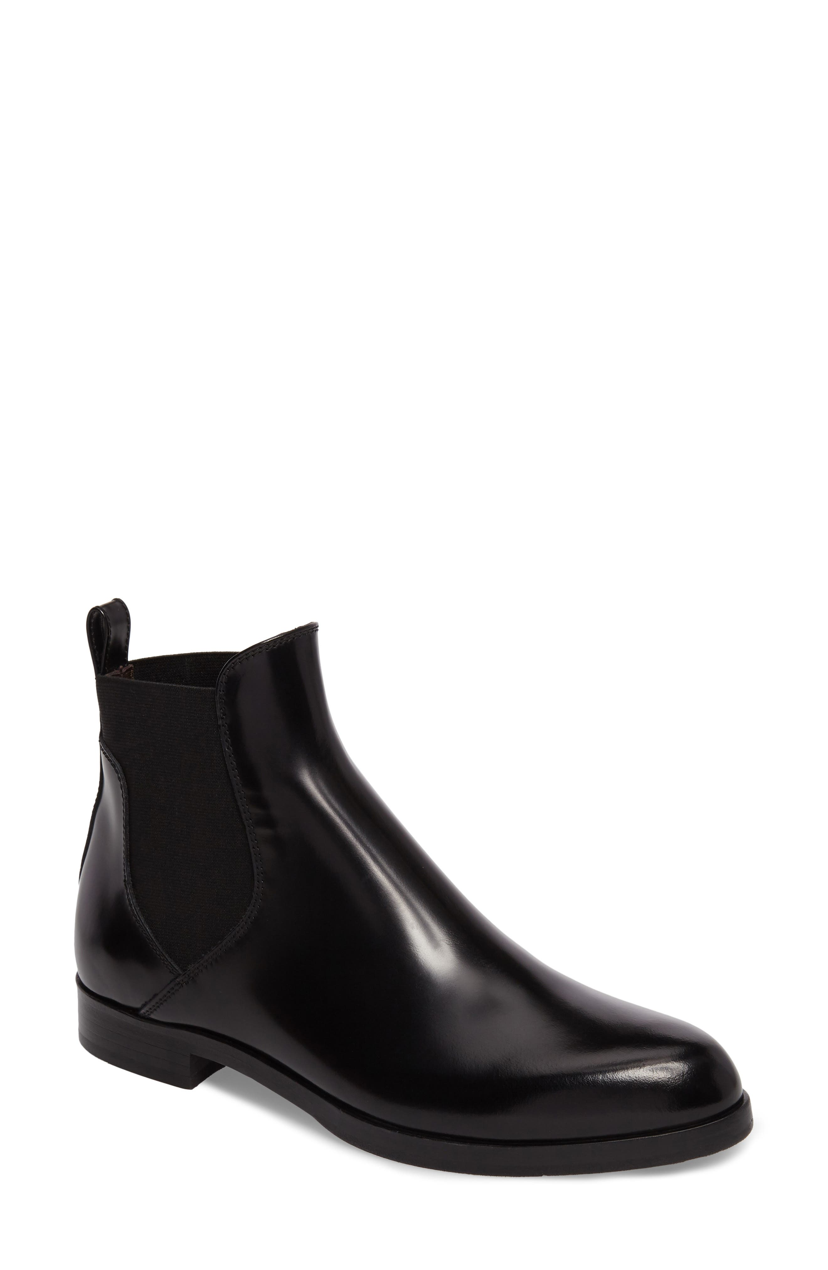 Gored Bootie,                         Main,                         color, Black Leather