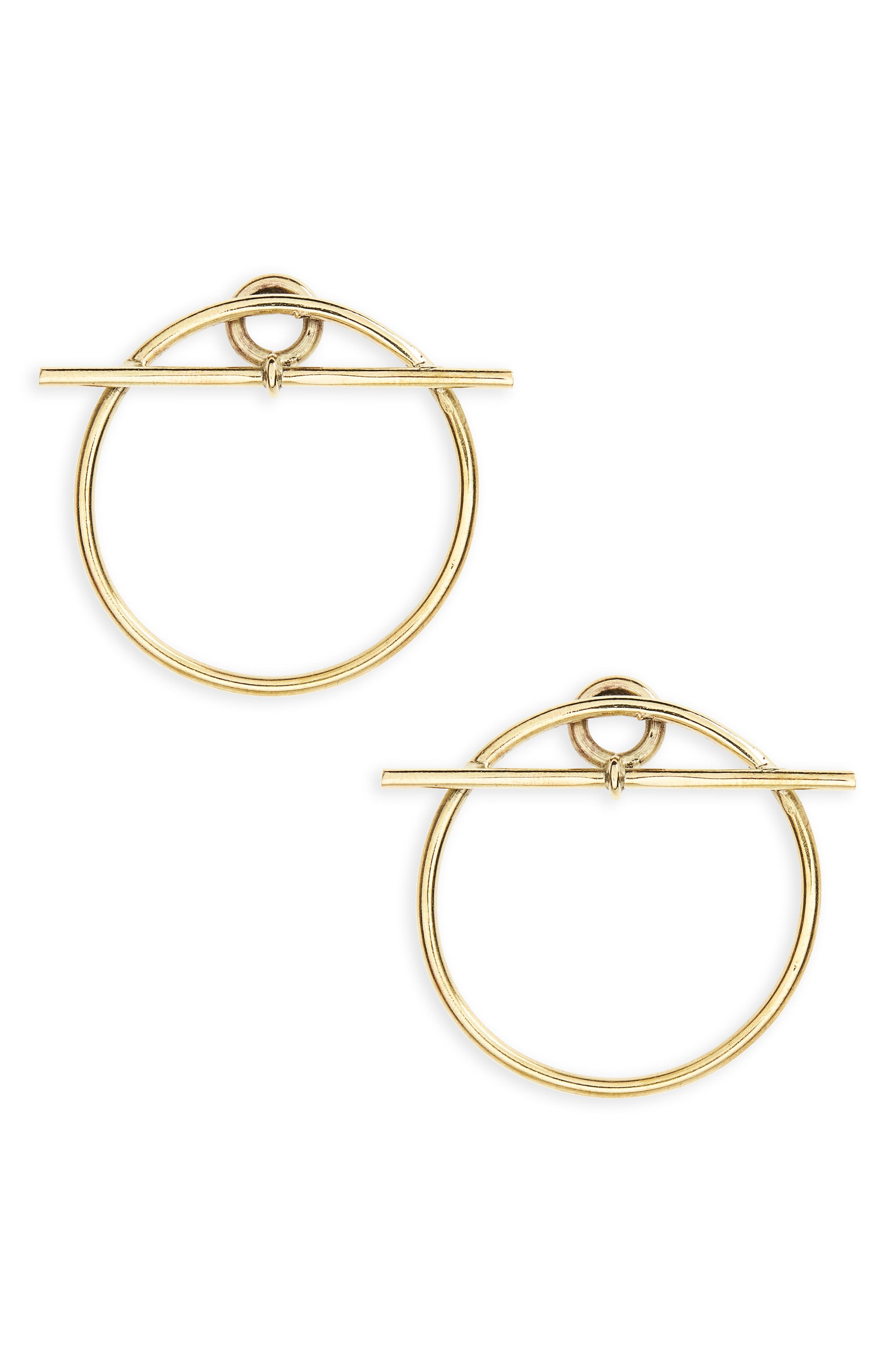 Toggle & Bar Earrings,                         Main,                         color, Brass