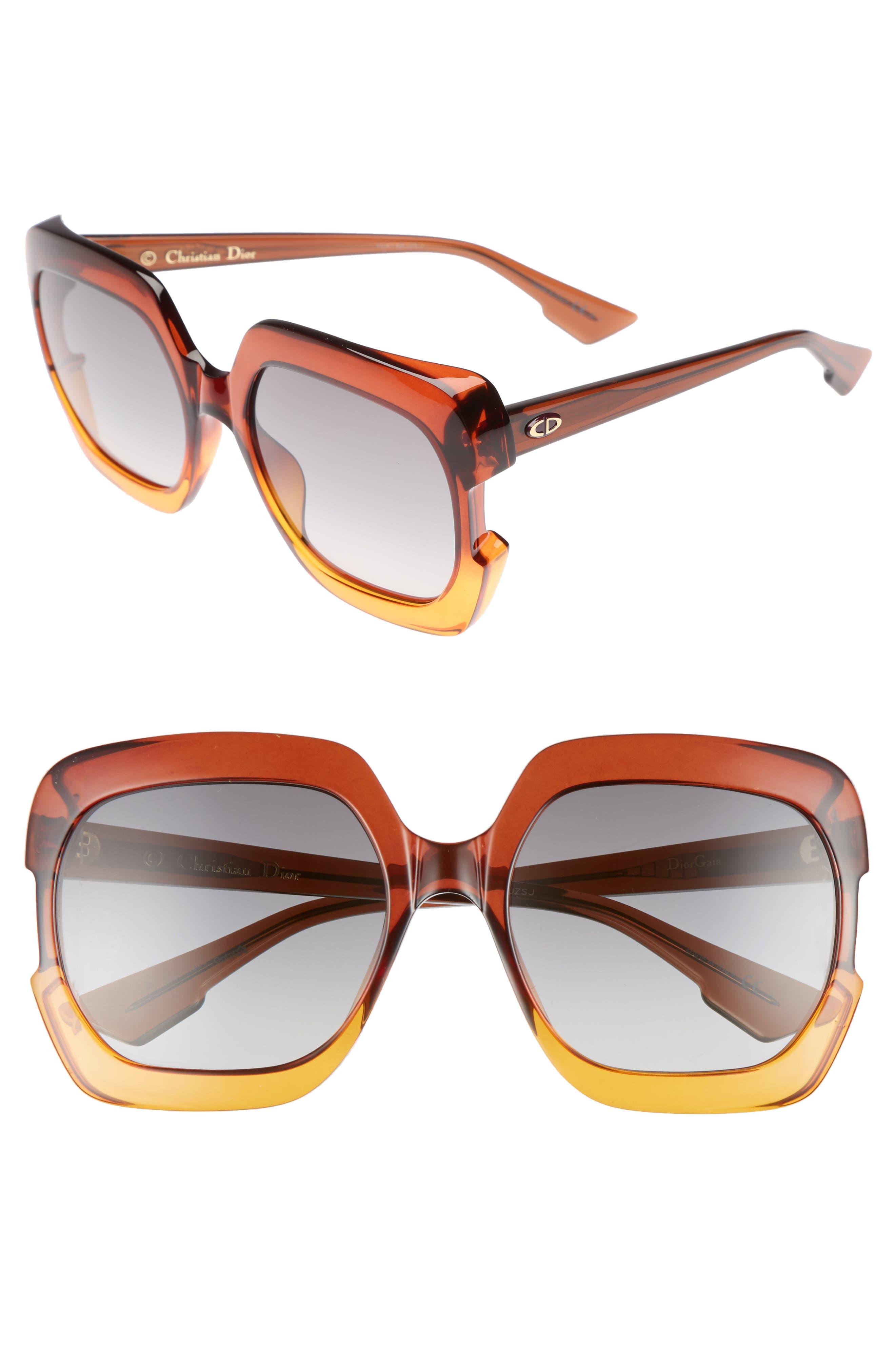 Gaia 58mm Square Sunglasses,                             Main thumbnail 1, color,                             Brown/ Orange