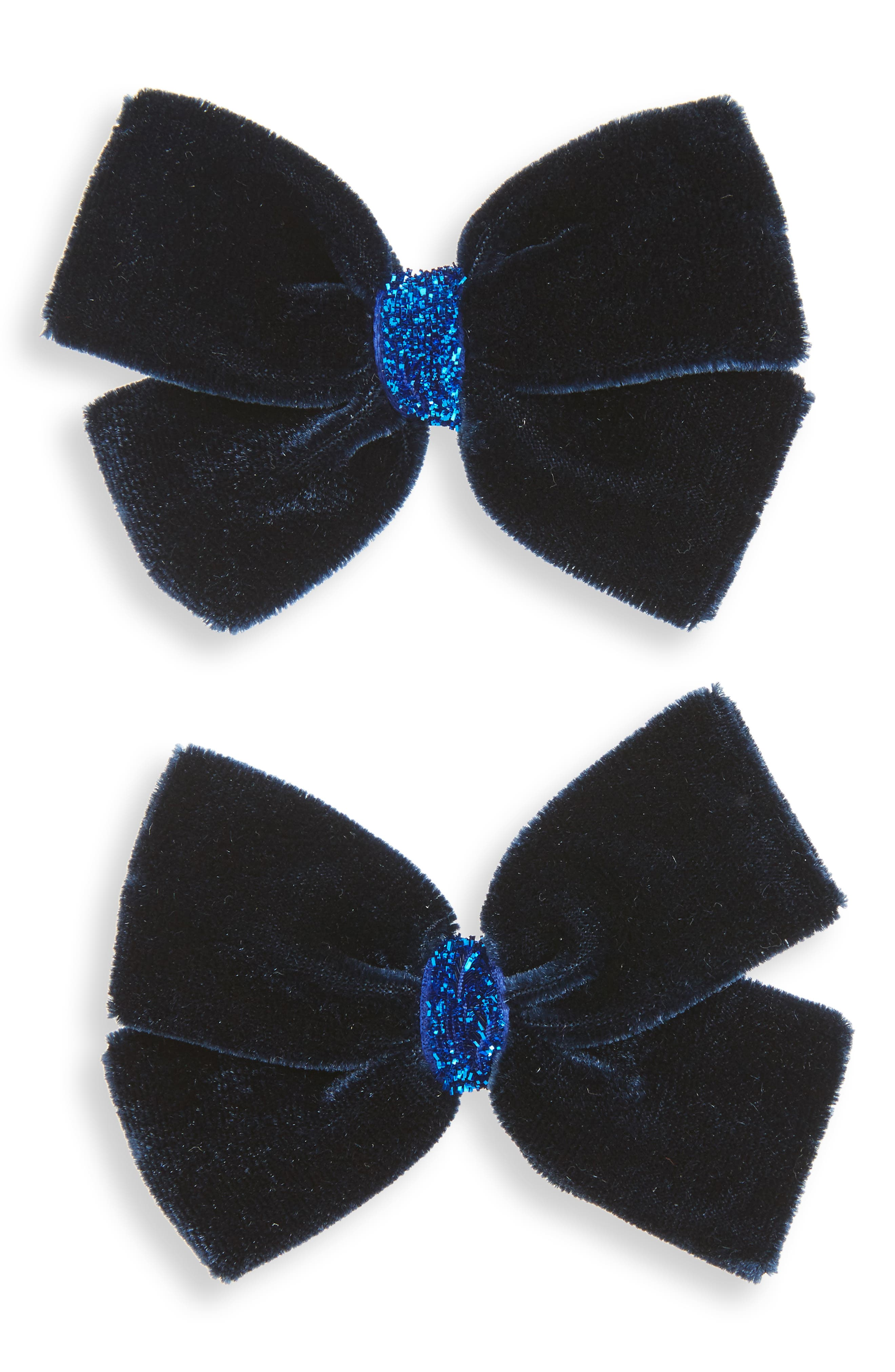 Alternate Image 1 Selected - PLH Bows & Laces 2-Pack Velvet Bow Clips (Baby Girls)