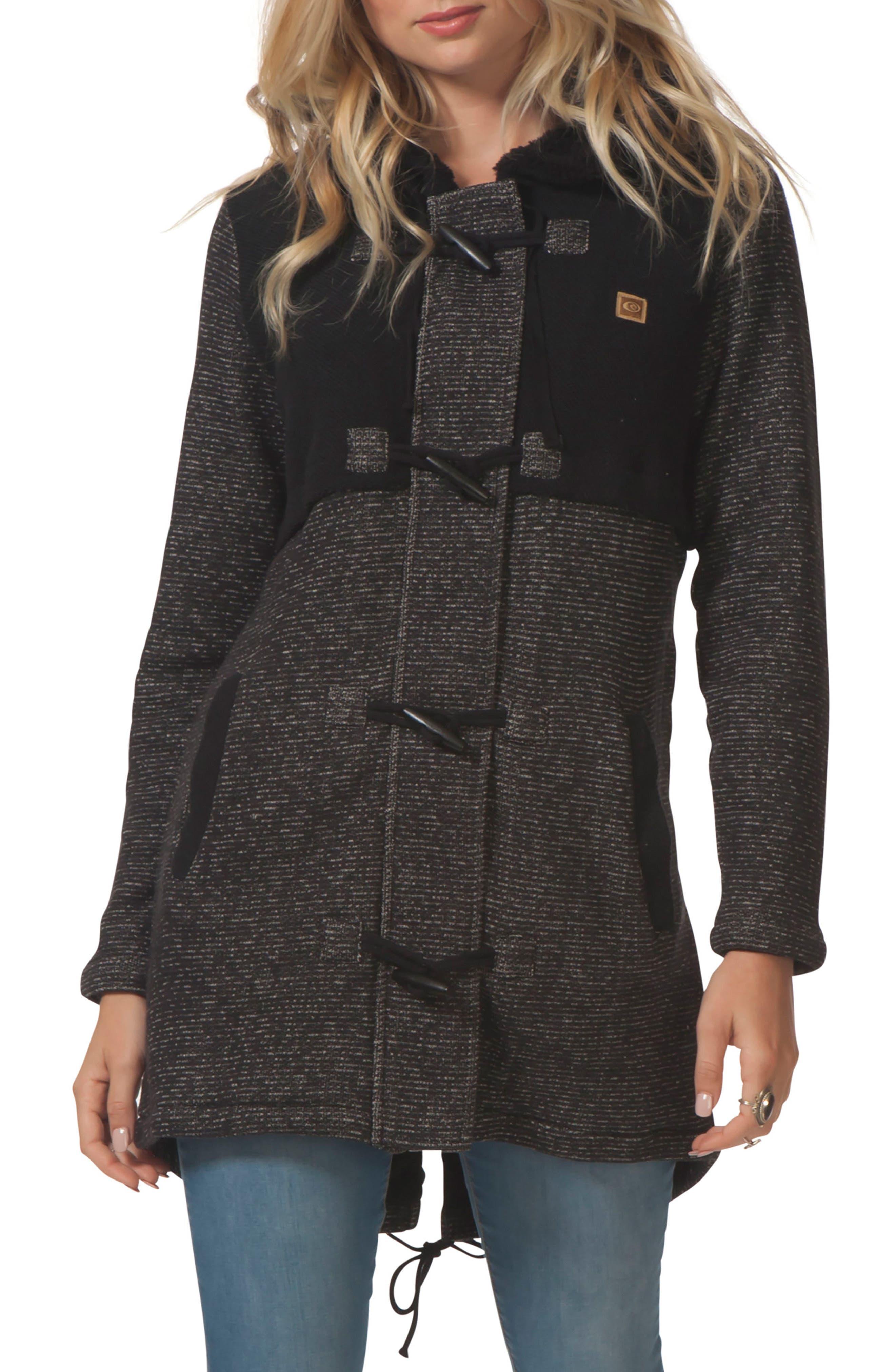 Penny Fleece Jacket,                         Main,                         color, Black