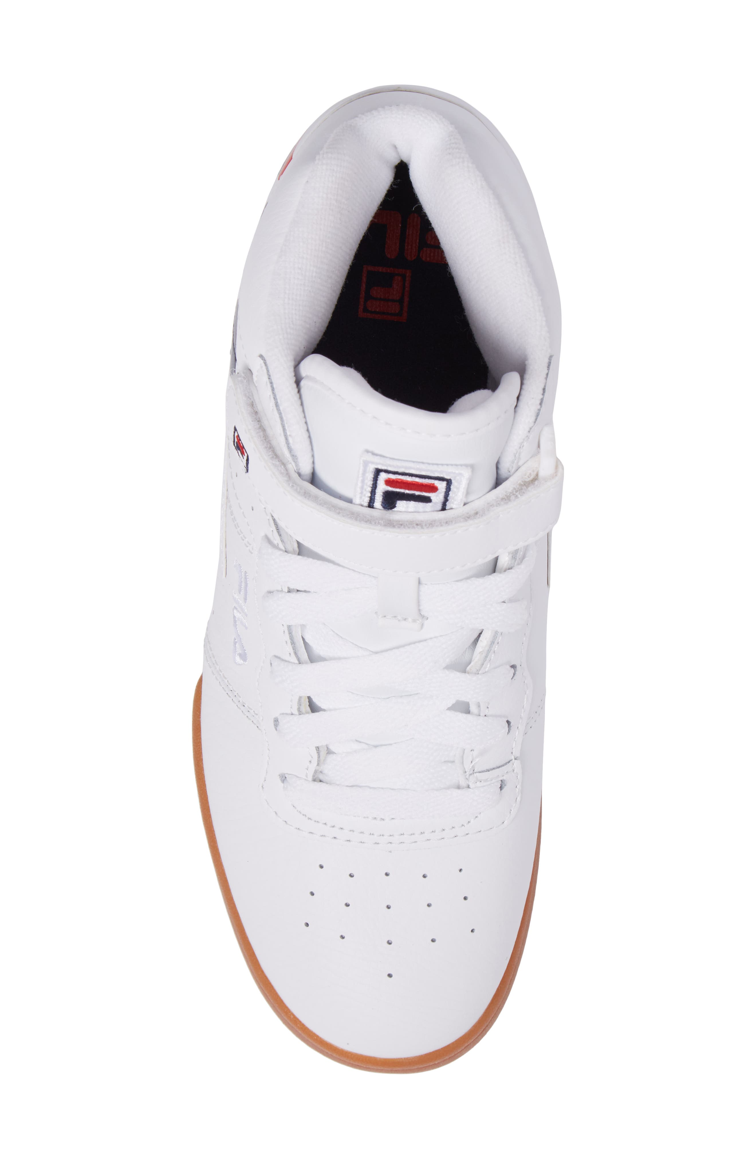 Original Fitness Logo Mid Top Sneaker,                             Alternate thumbnail 5, color,                             White/ Navy/ Red