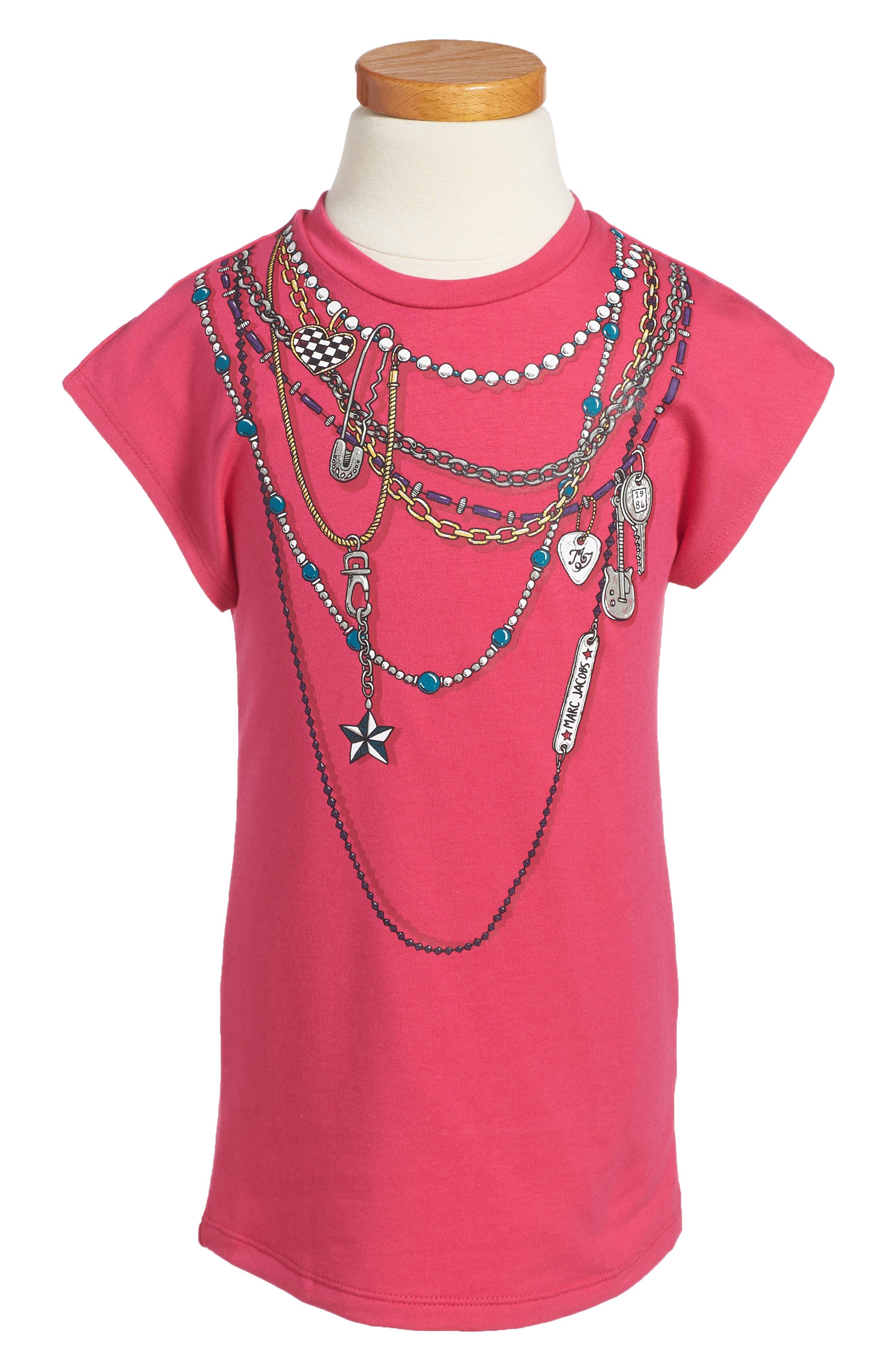Trompe L'Oeil T-Shirt Dress,                         Main,                         color, Bright Pink