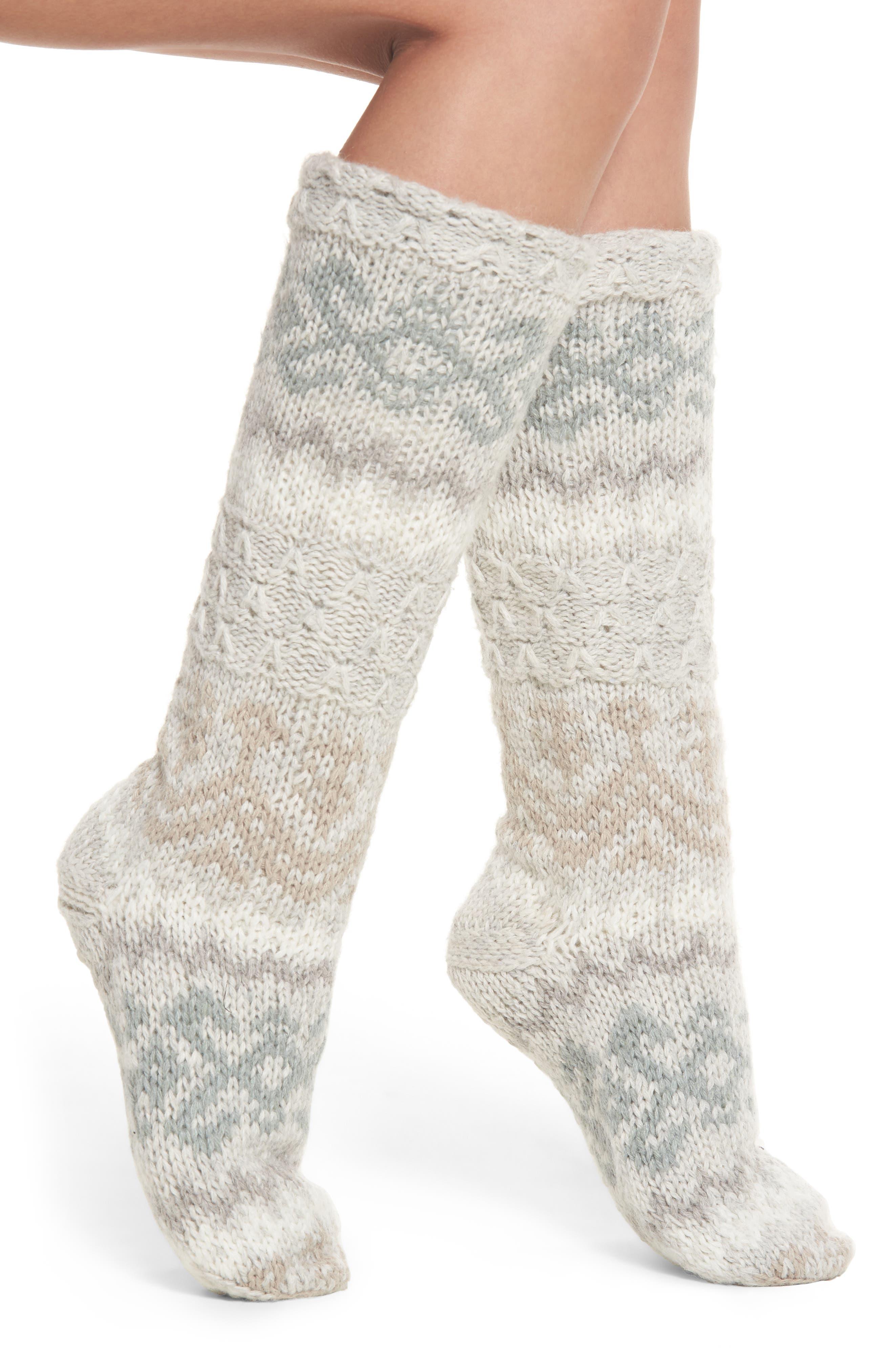 Fair Isle Slipper Socks,                             Main thumbnail 1, color,                             Oxford