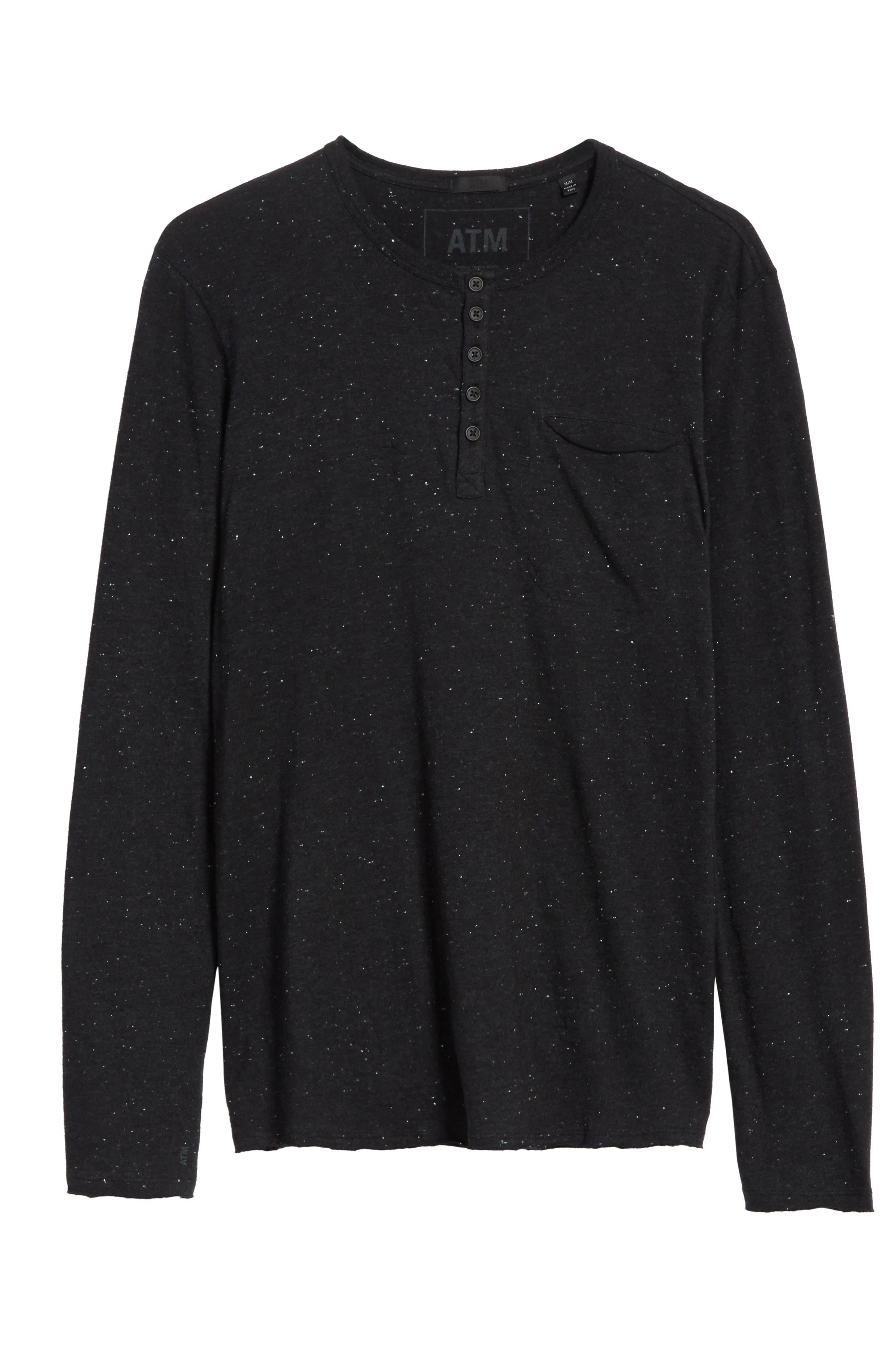 Long Sleeve Pocket Henley T-Shirt,                         Main,                         color, Black Donegal