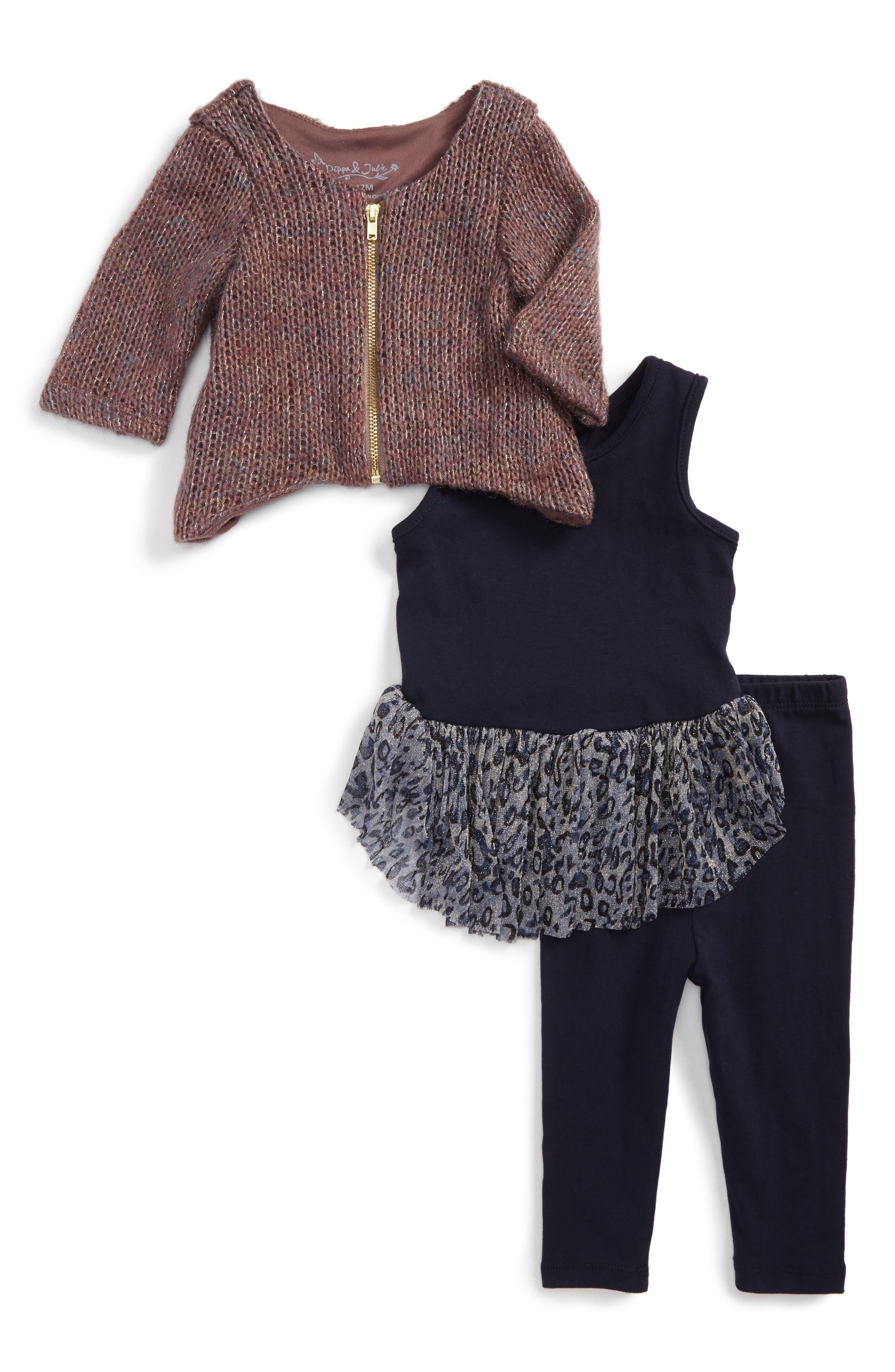 Pippa & Julie Cardigan, Dress & Leggings Set (Baby Girls)