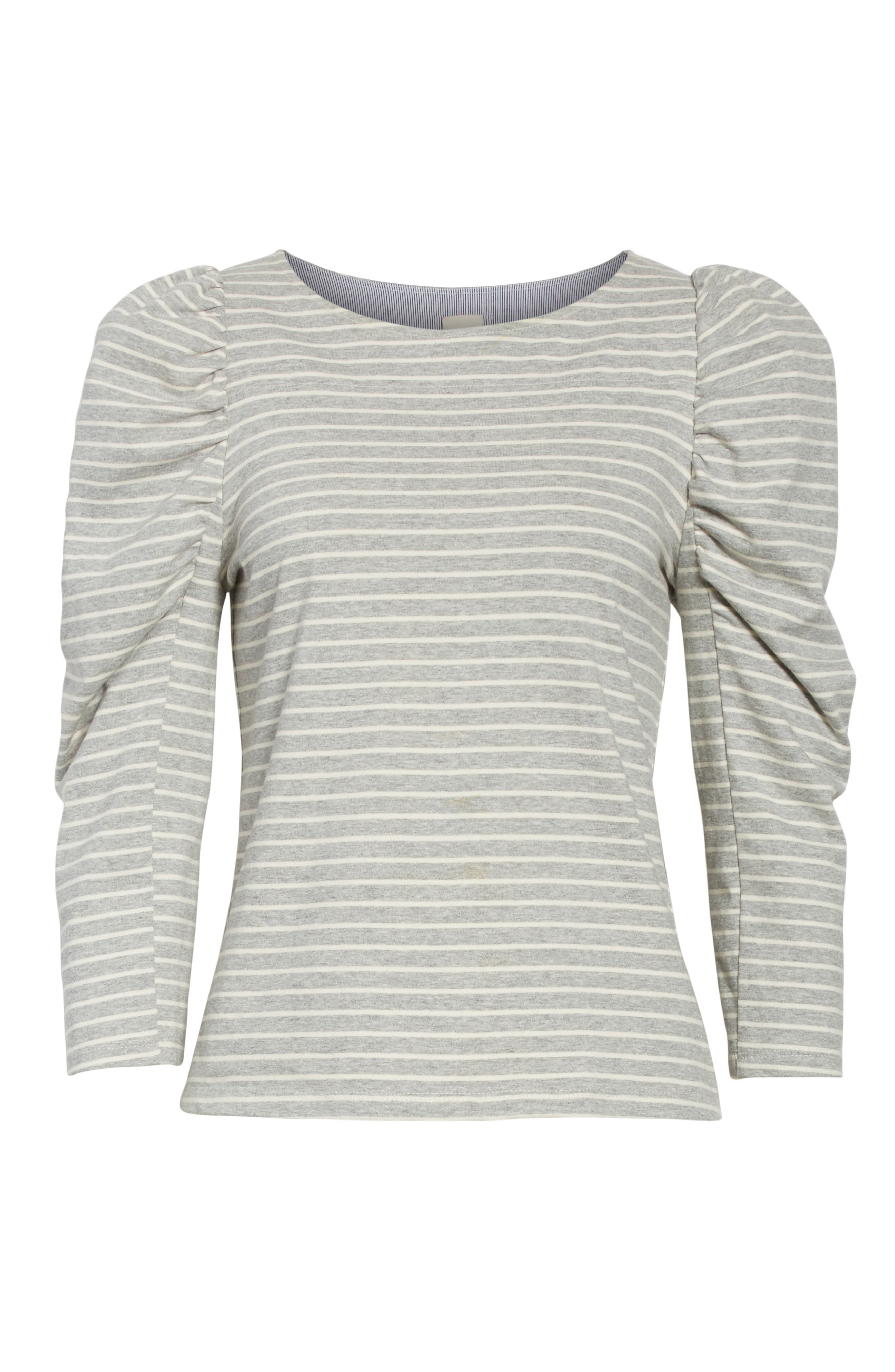 Stripe Jersey Top,                             Alternate thumbnail 7, color,                             Heather Grey Combo